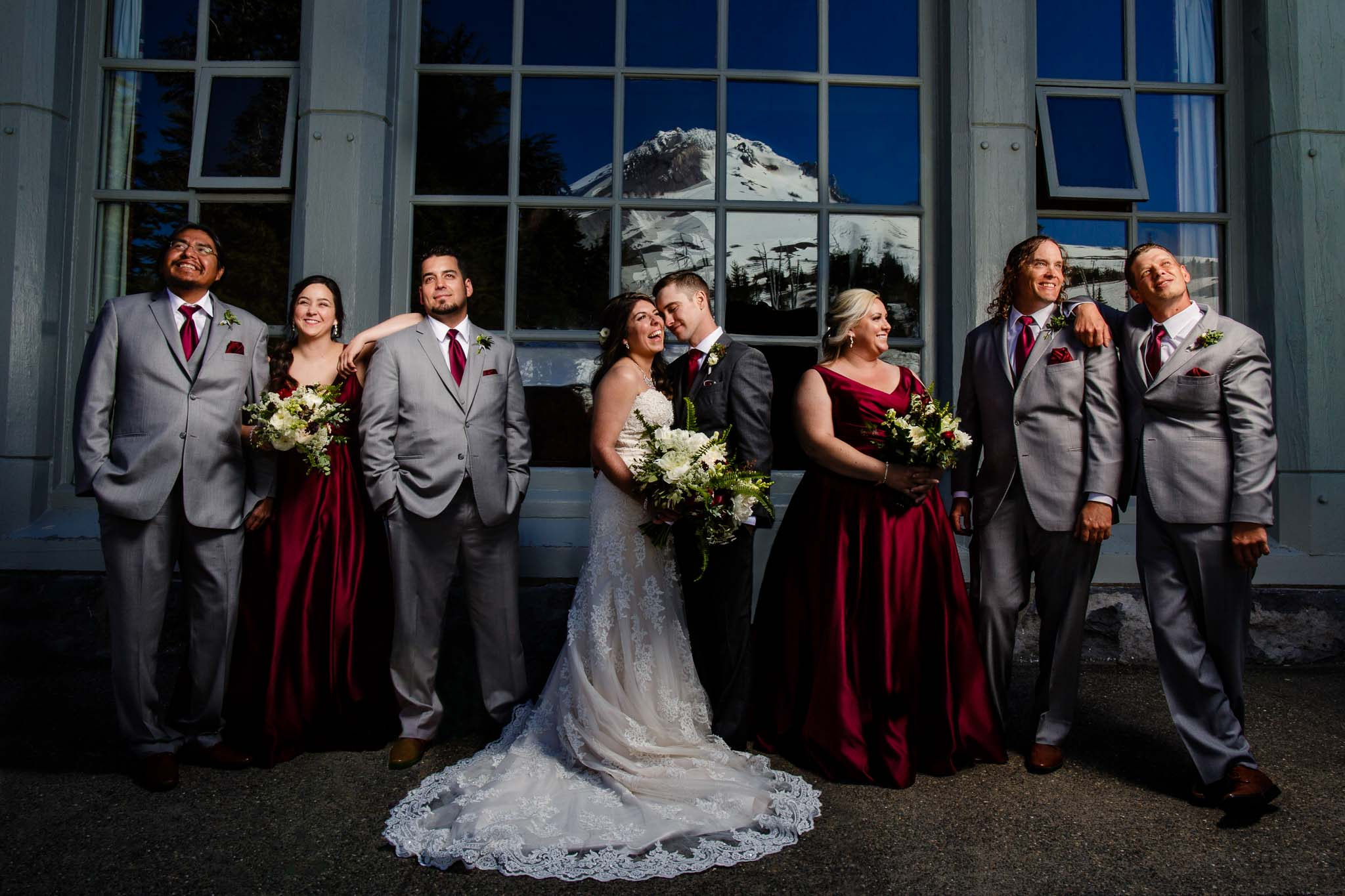 Timberline Wedding Photo of Bridal Party infront of Lodge