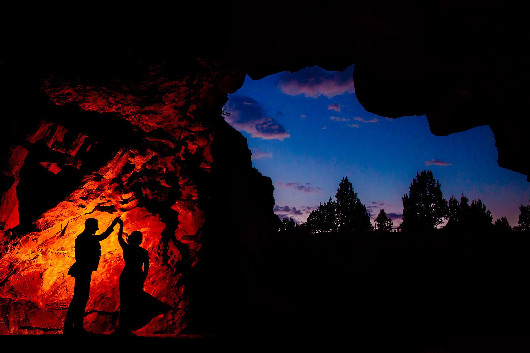 Bride and Groom inside Cave in Bend Oregon with sunset