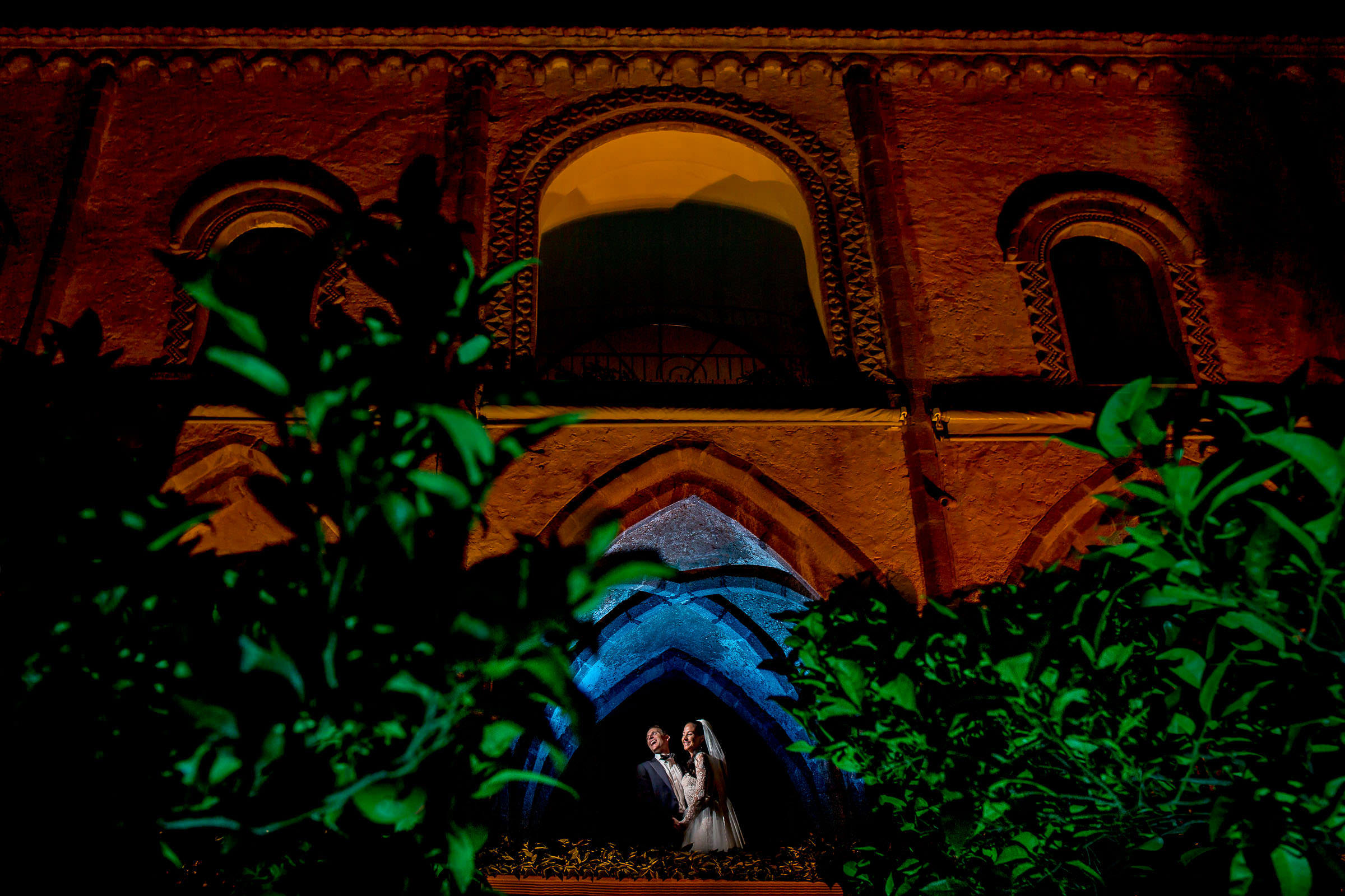 Bride and Groom laughing in Crypt at Villa Cimbrone on Amalfi Coast in Italy