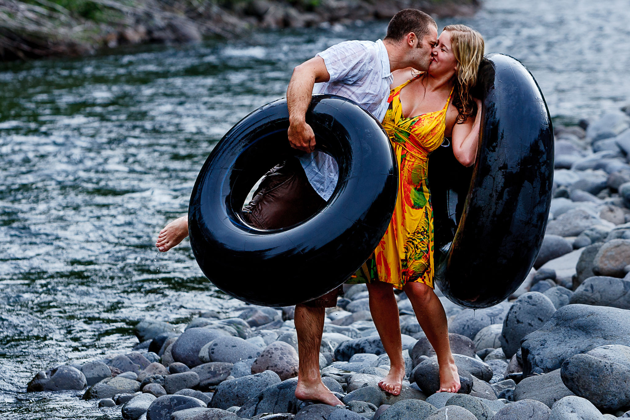Engagement Portrait on Mollala River in Oregon
