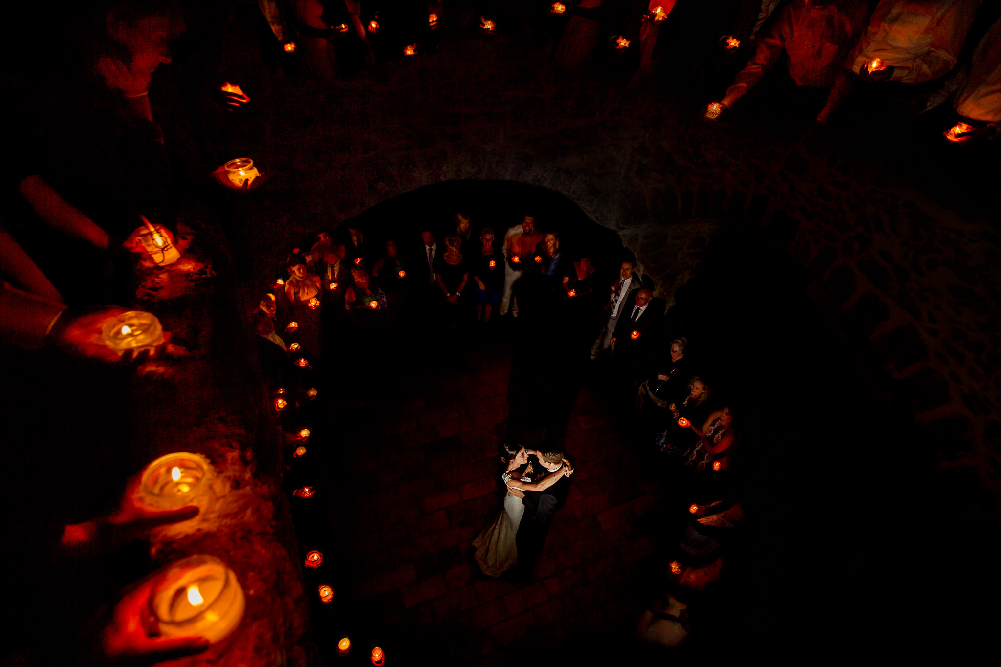 Candle light first dance with bride and groom in French chateau