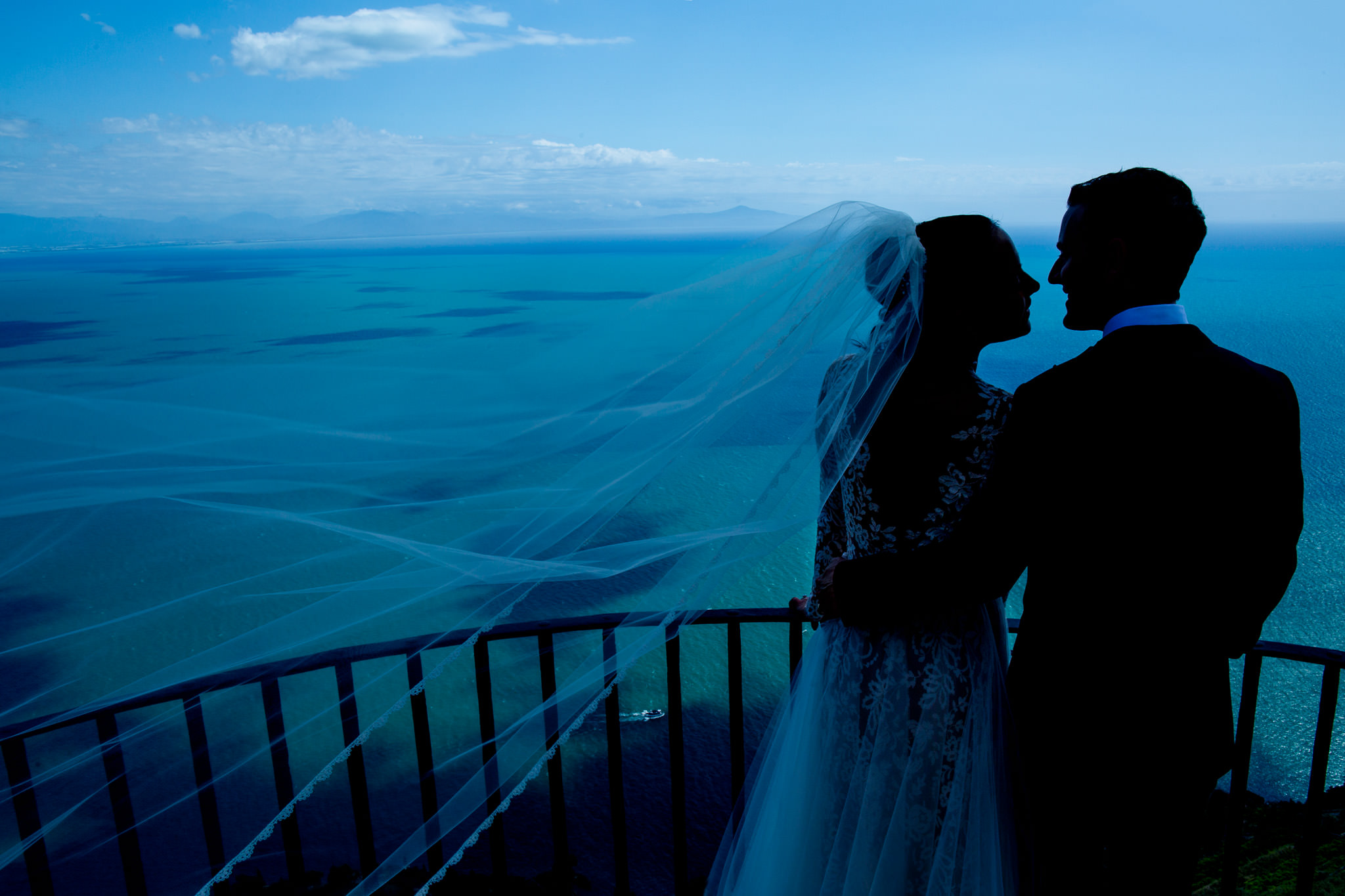 Bride and Groom at Villa Cimbrone in Ravello Italy on Amalfi Coast