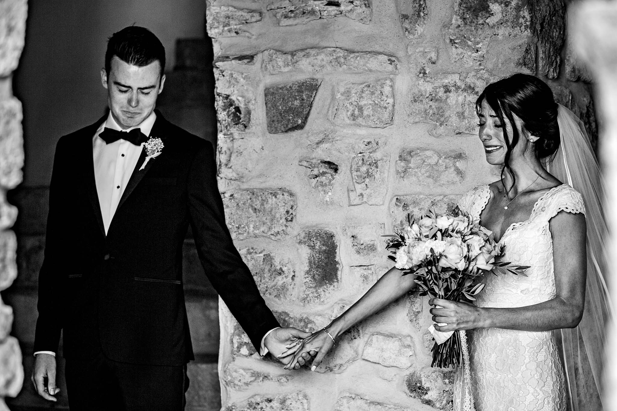 Bride and Groom emotional touch France Wedding JOS studios