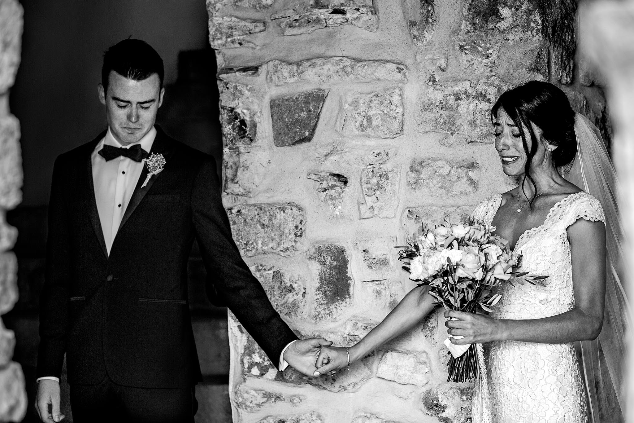 Emotional Bride and Groom at French chateau wedding in South of France