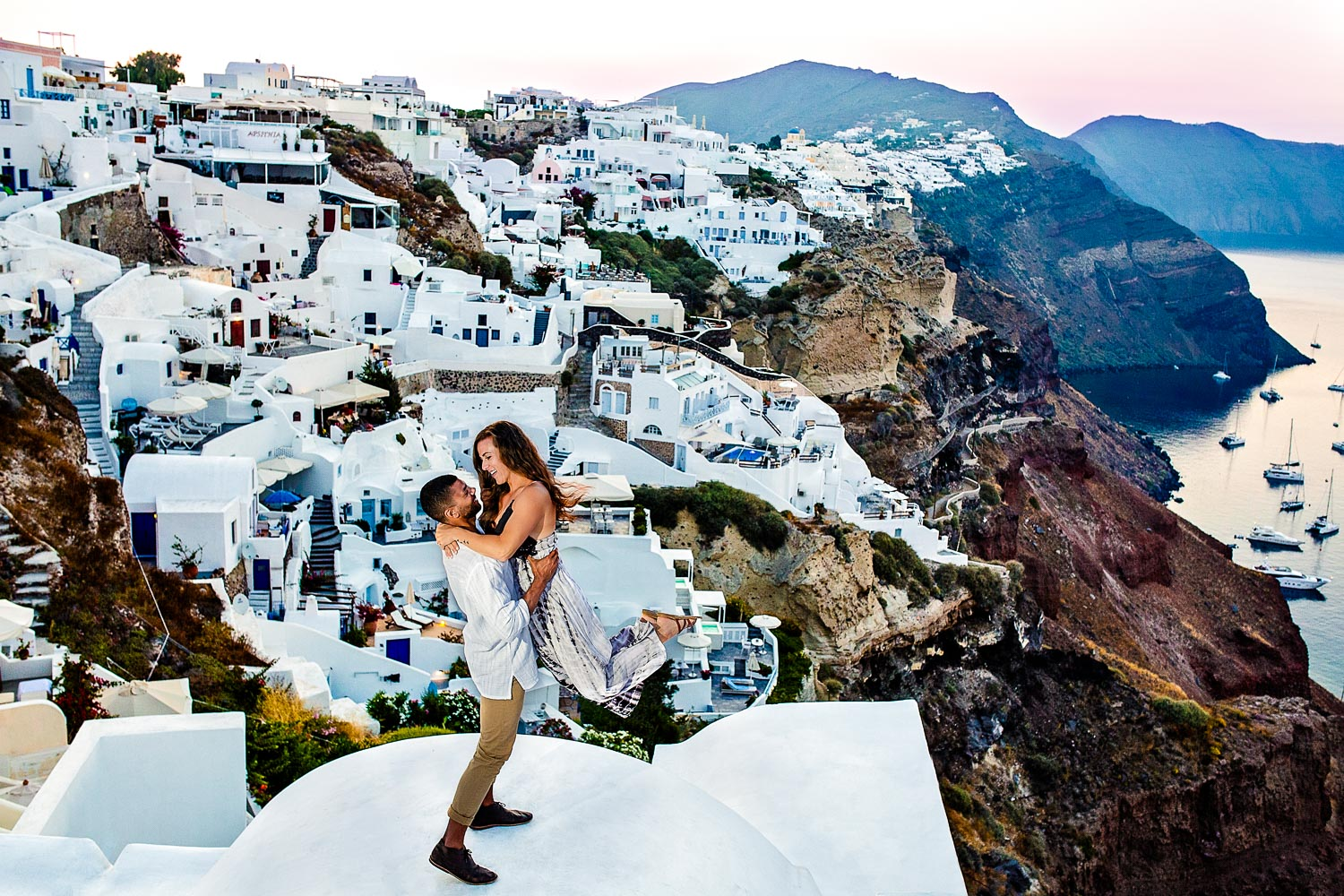 Santorini Greece Engagement Photo by JOS studios