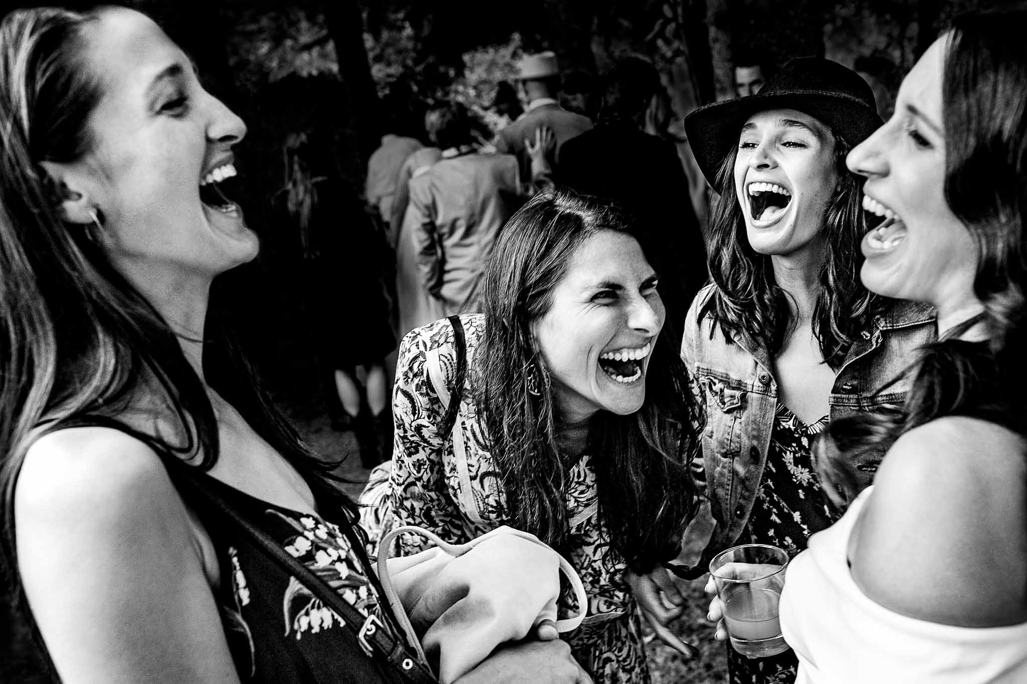 Bride laughing with friends at Mt Hood Organic Farms