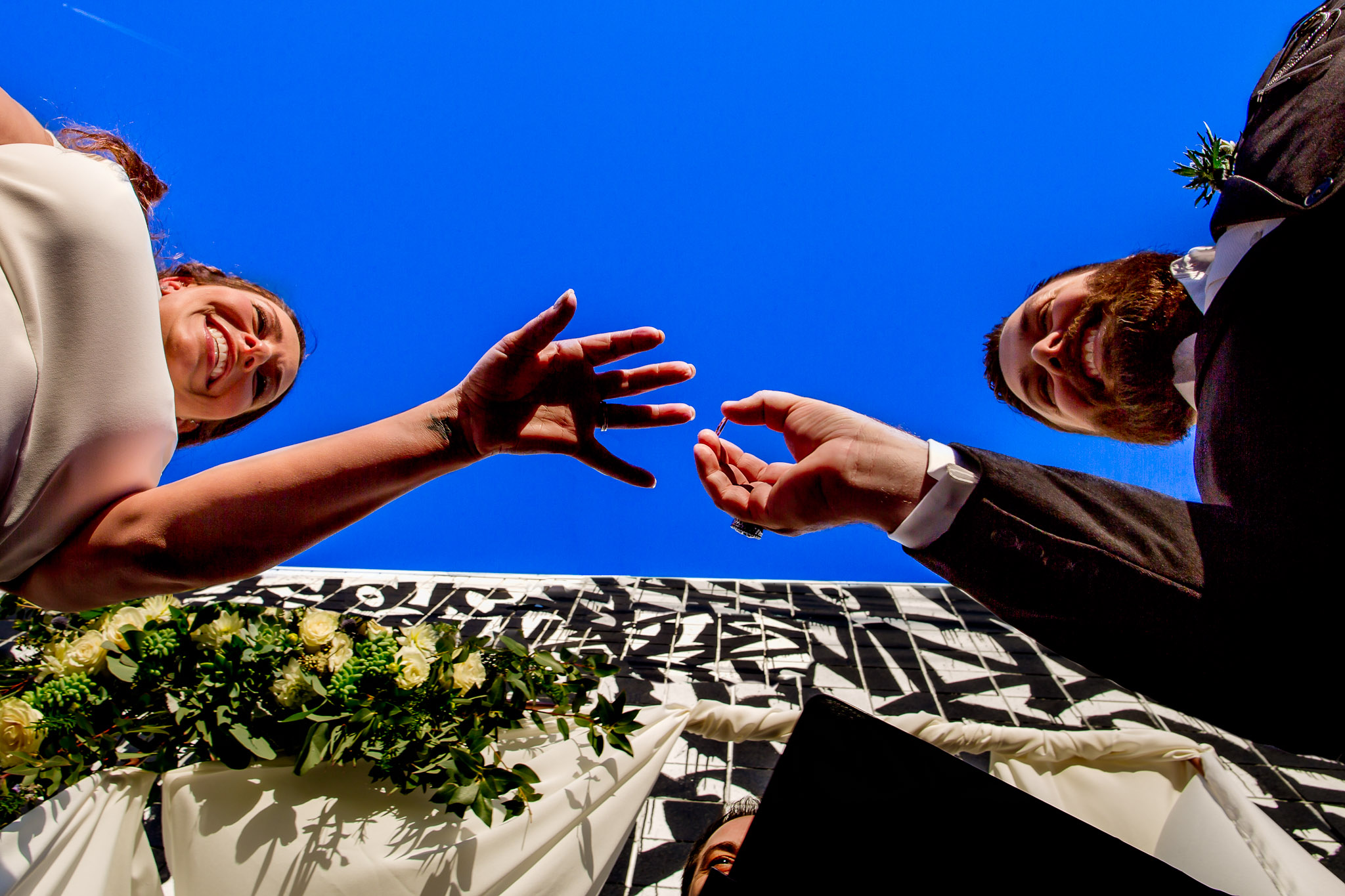 Ring Exchange during ceremony in Los Angeles California Wedding