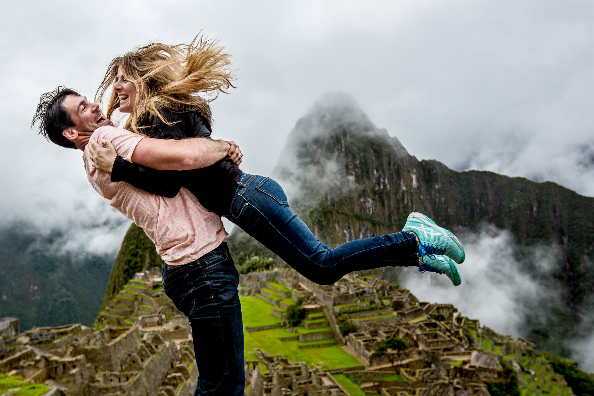 Engagement portrait machu picchu peru near Cusco Lima