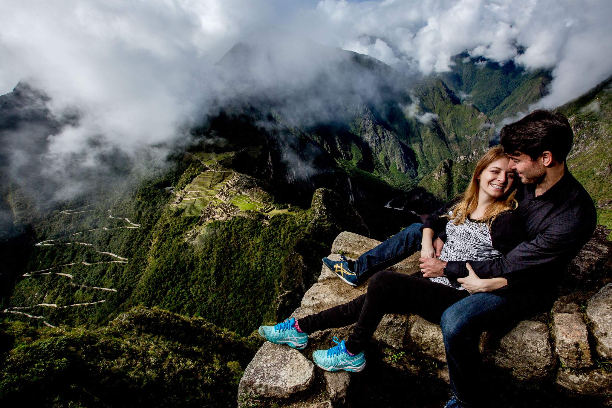 Engagement portrait atop Wayna Picchu above Machu Picchu in Peru