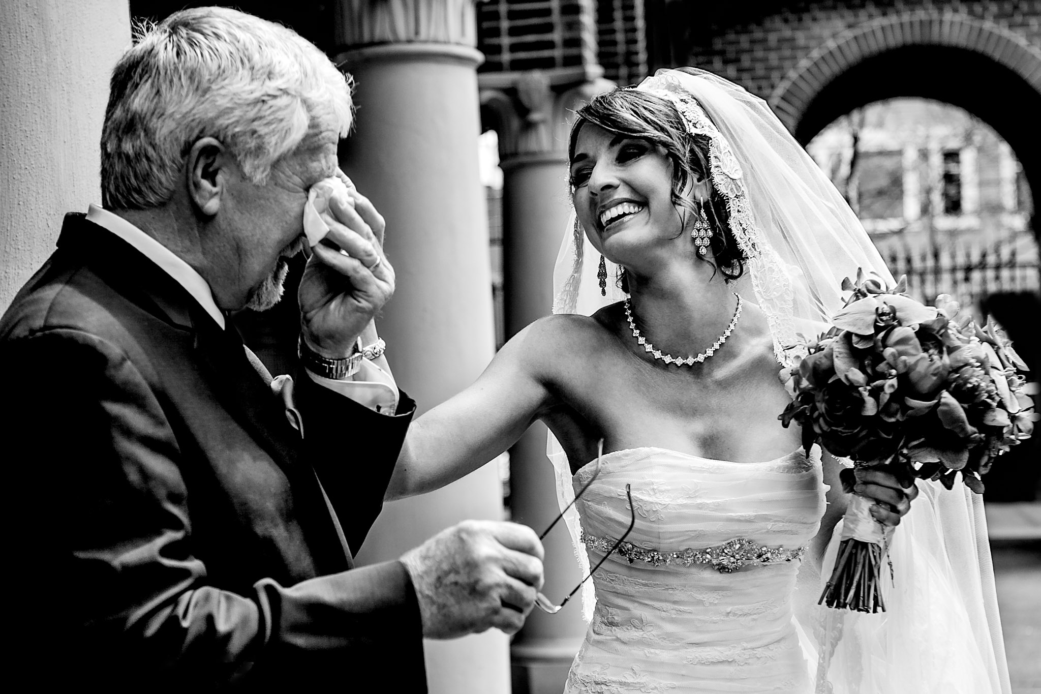 Portland wedding with bride emotional father at St Marys Cathedral