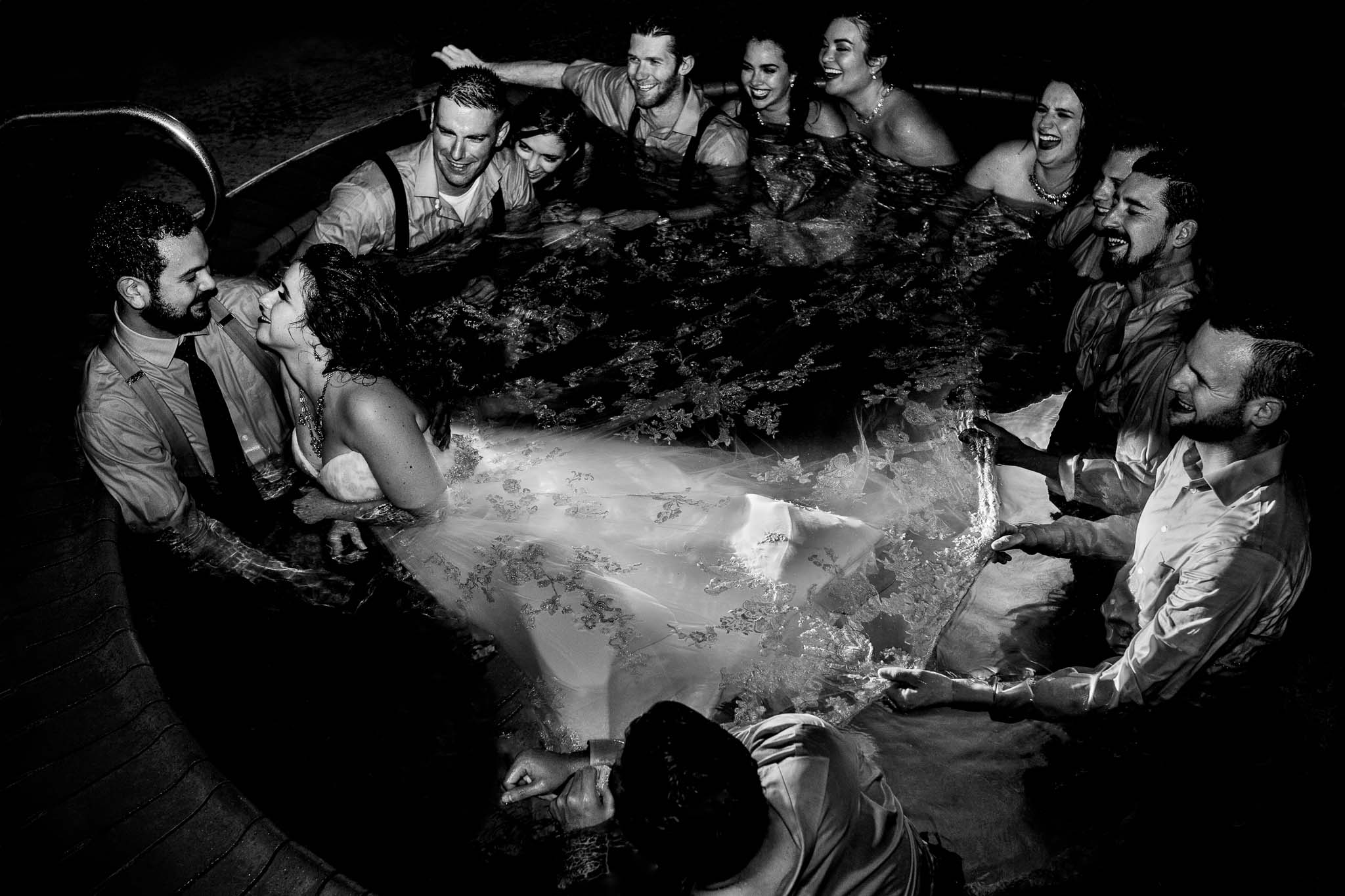 bride in hot tub with bridal party at Inn at the Mountain near Mt Hood in Oregon