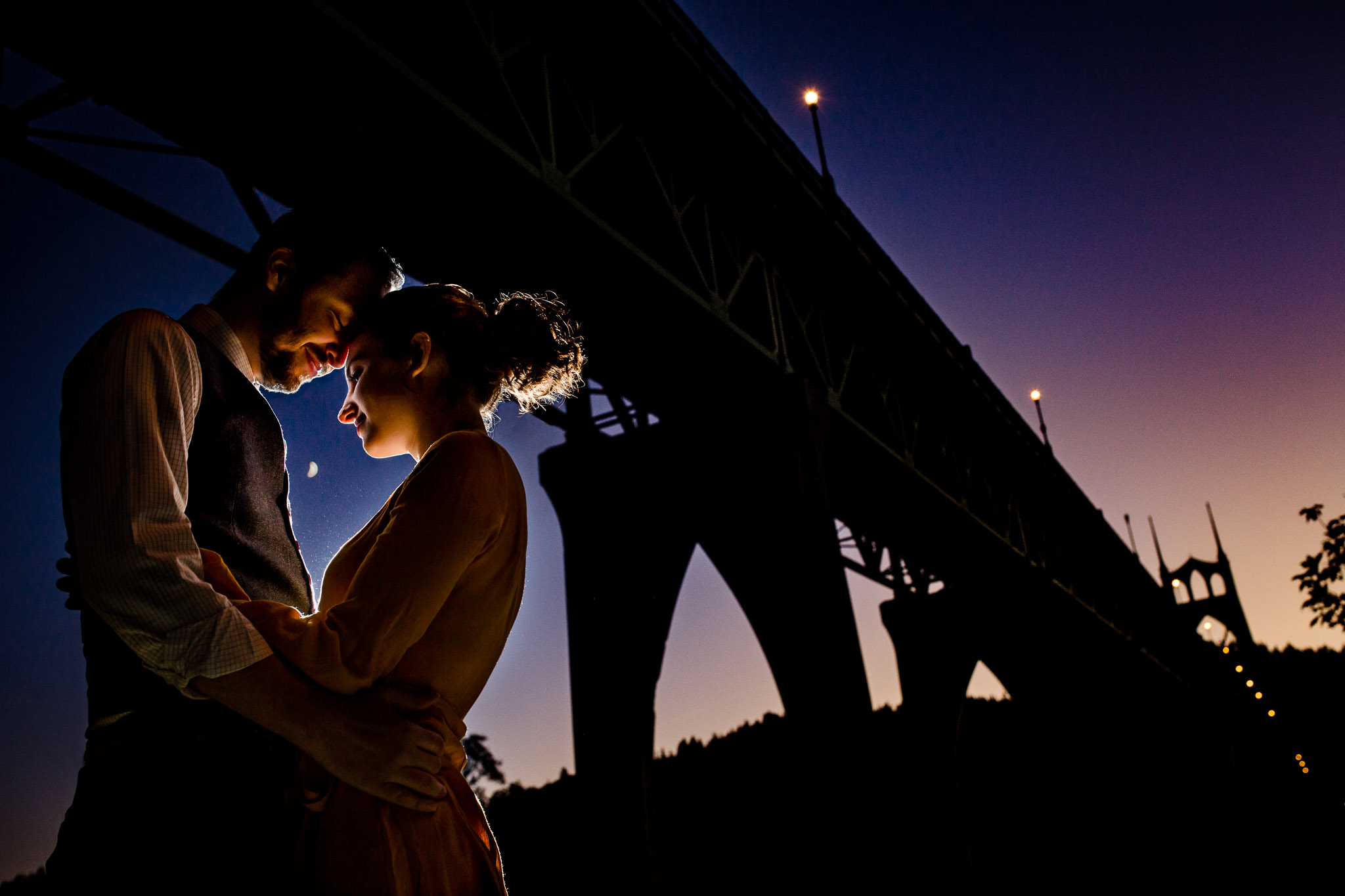 Portland Engagement Photo under St Johns Bridge