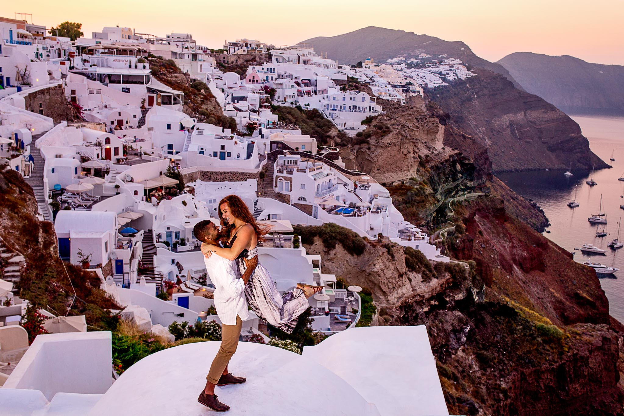 Santorini Greece Engagement Photo