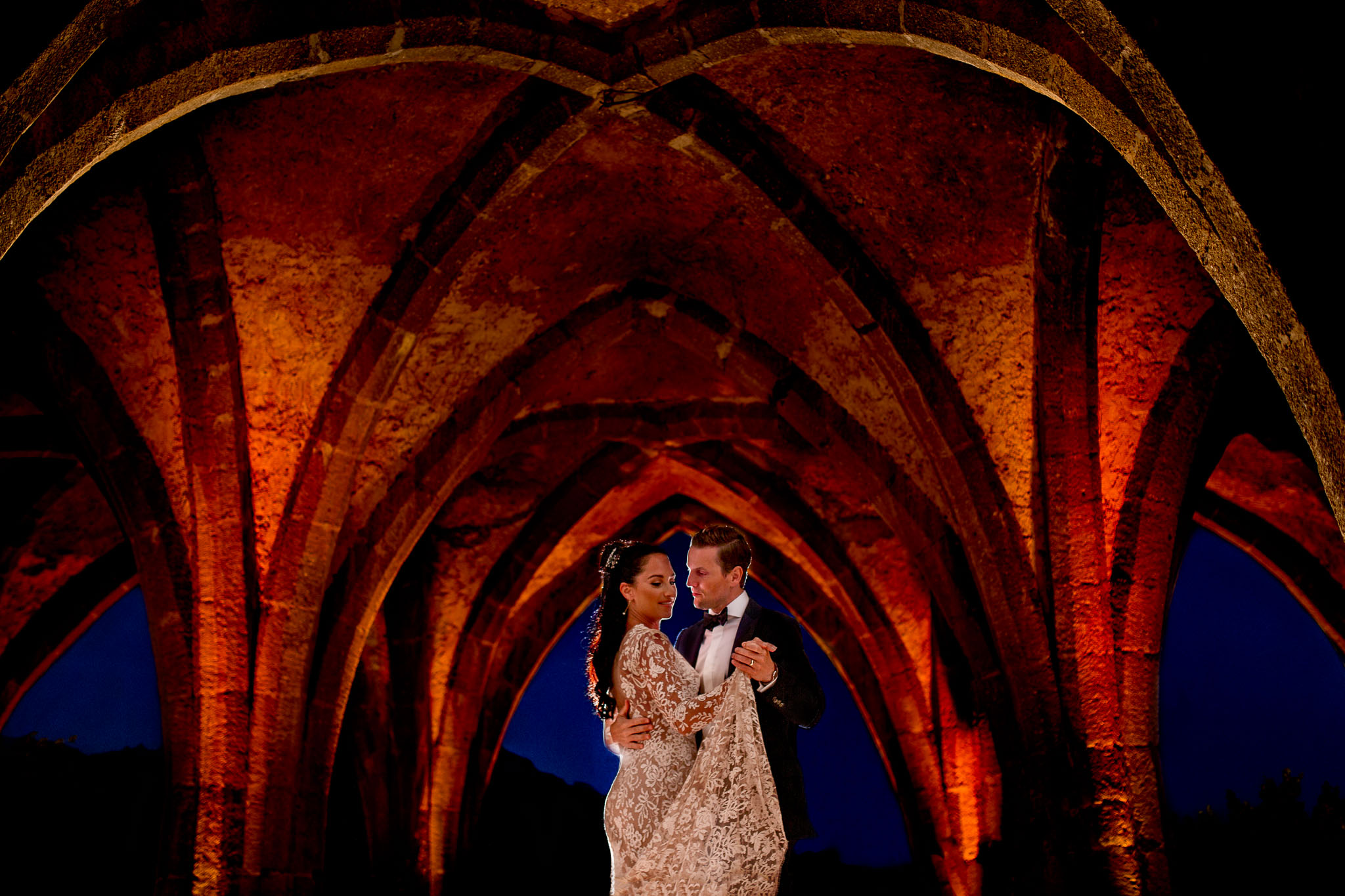 Bride and Groom First dance in Crypt at Villa Cimbrone