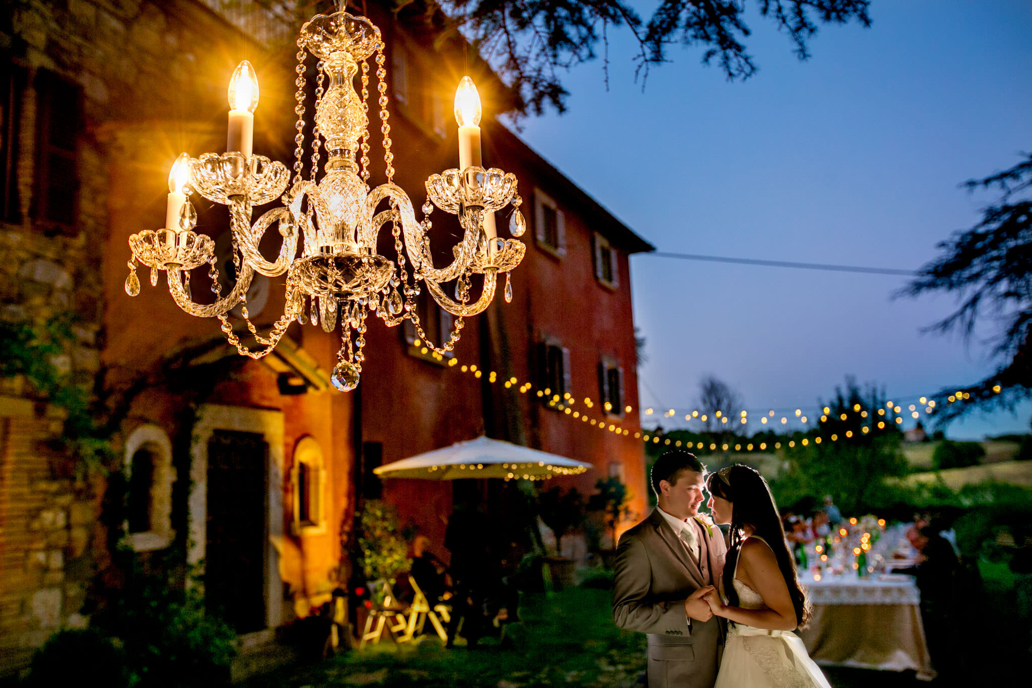 Bride and Groom first dance infront of Villa Tre Grazi just outside Todi, Italy at their Italian wedding reception