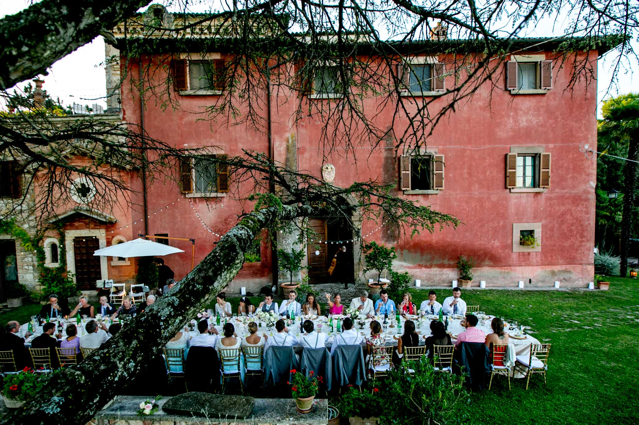 Wedding reception long table at Villa Tre Grazie in Umbria Italy near Todi
