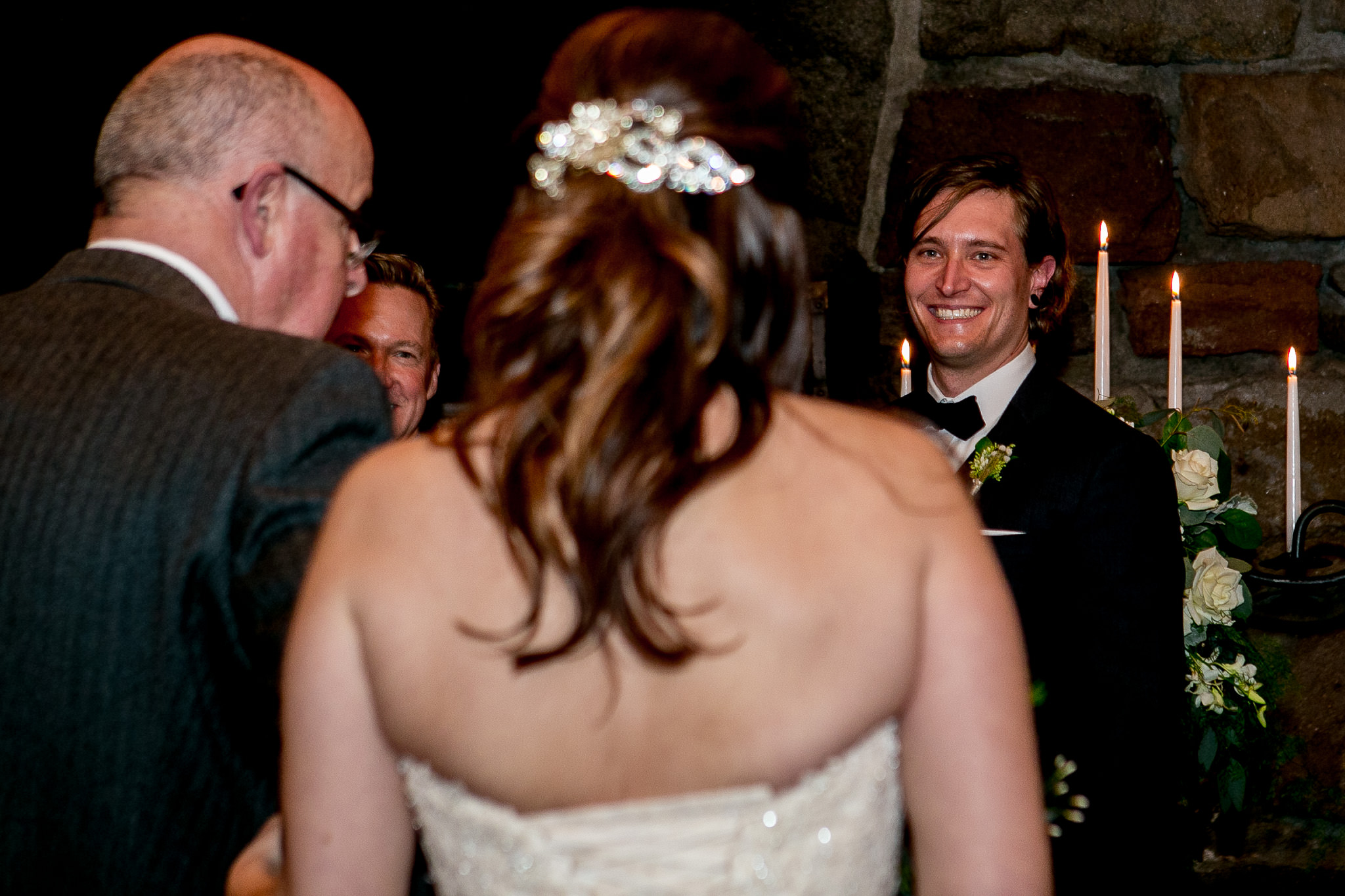Bride in ceremony at Silcox Hut above Timberline Lodge