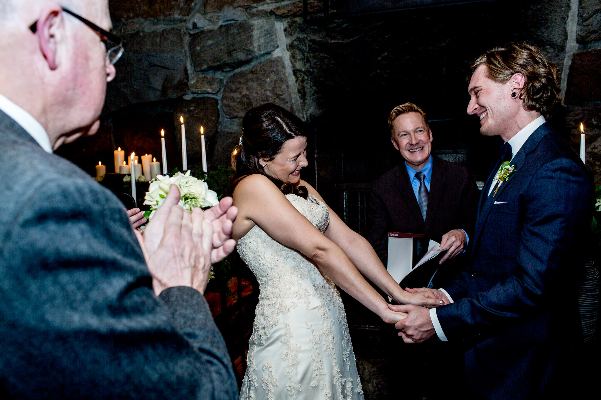 Wedding ceremony at Silcox Hut at Timberline Lodge