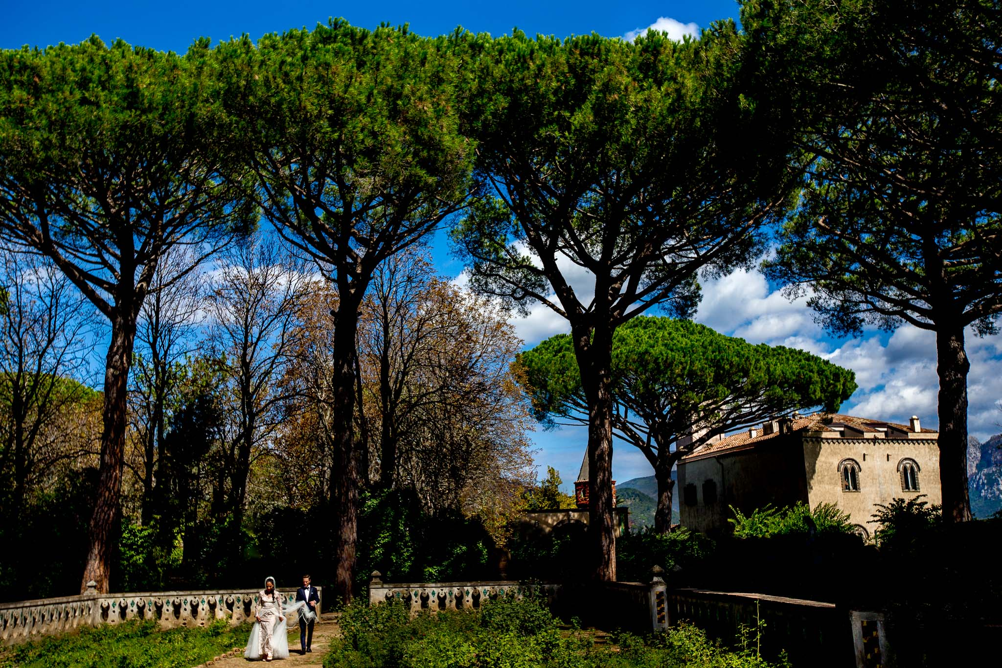 Amalfi Wedding at Villa Cimbrone in Italy with bride and groom walking
