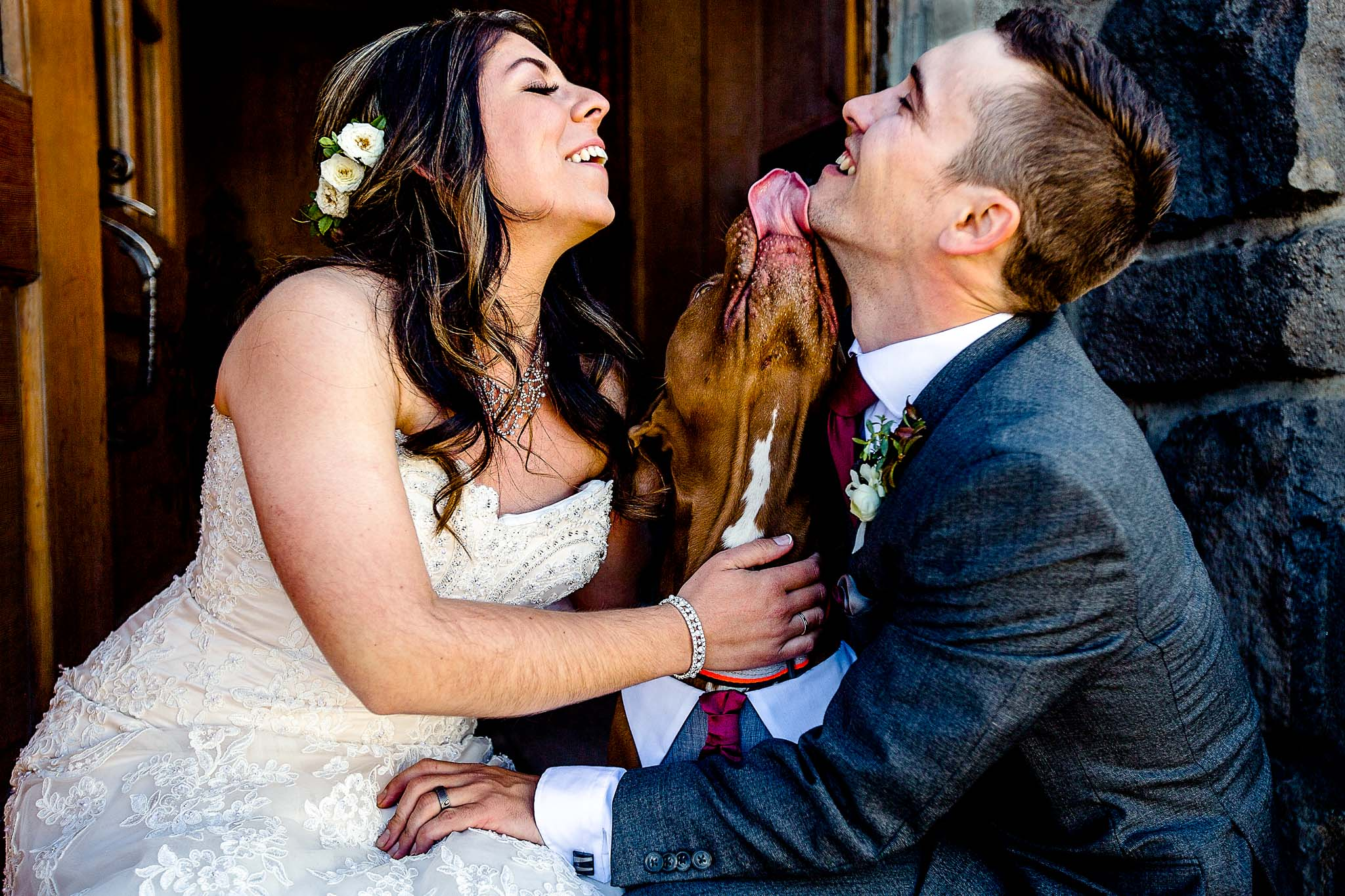 bride and groom with happy dog at Timberline Lodge - JOS studios