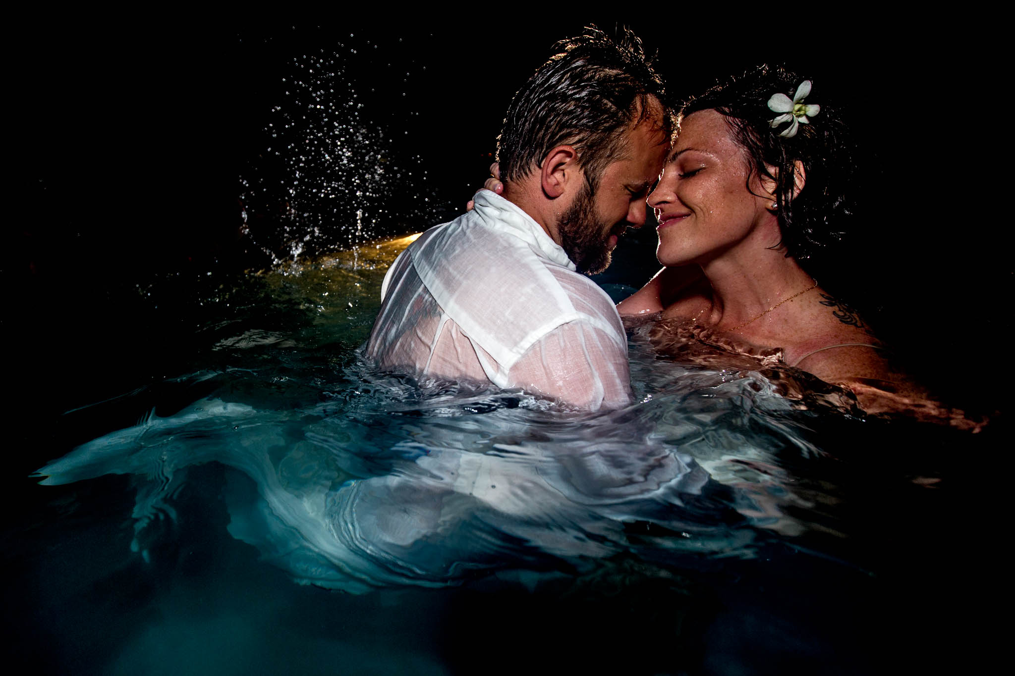Bride and Groom intimate in pool party at Belize Wedding