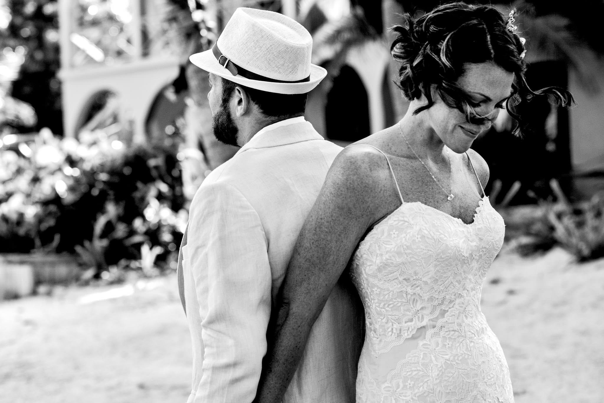 Bride and Groom seeing each other first time in Belize at Portofino Beach Resort