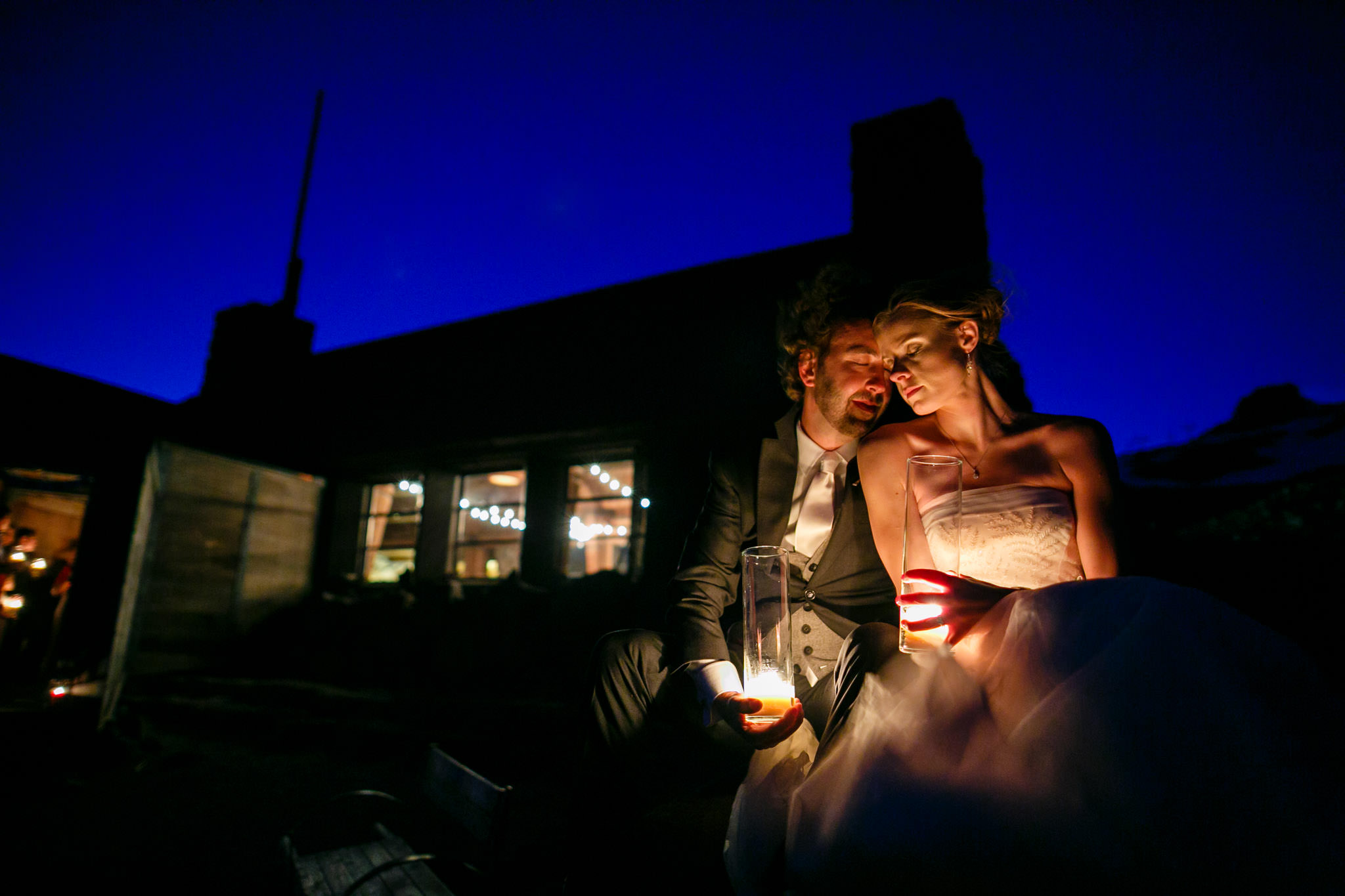 Twighlight shot with bride and groom at Silcox Hut. Photo by JOS studios