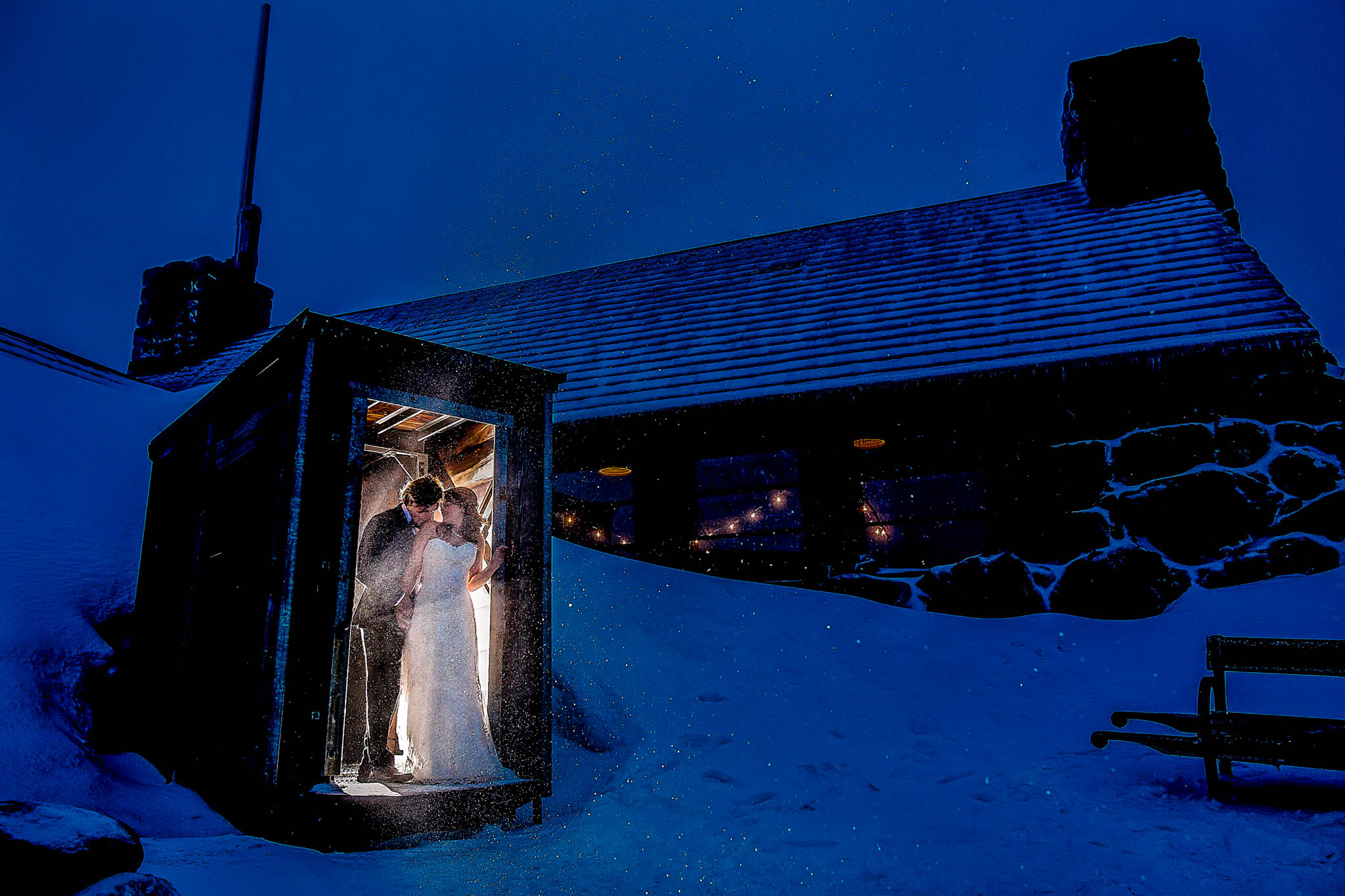 Bride and Groom at Silcox Hut. Photo by JOS studios