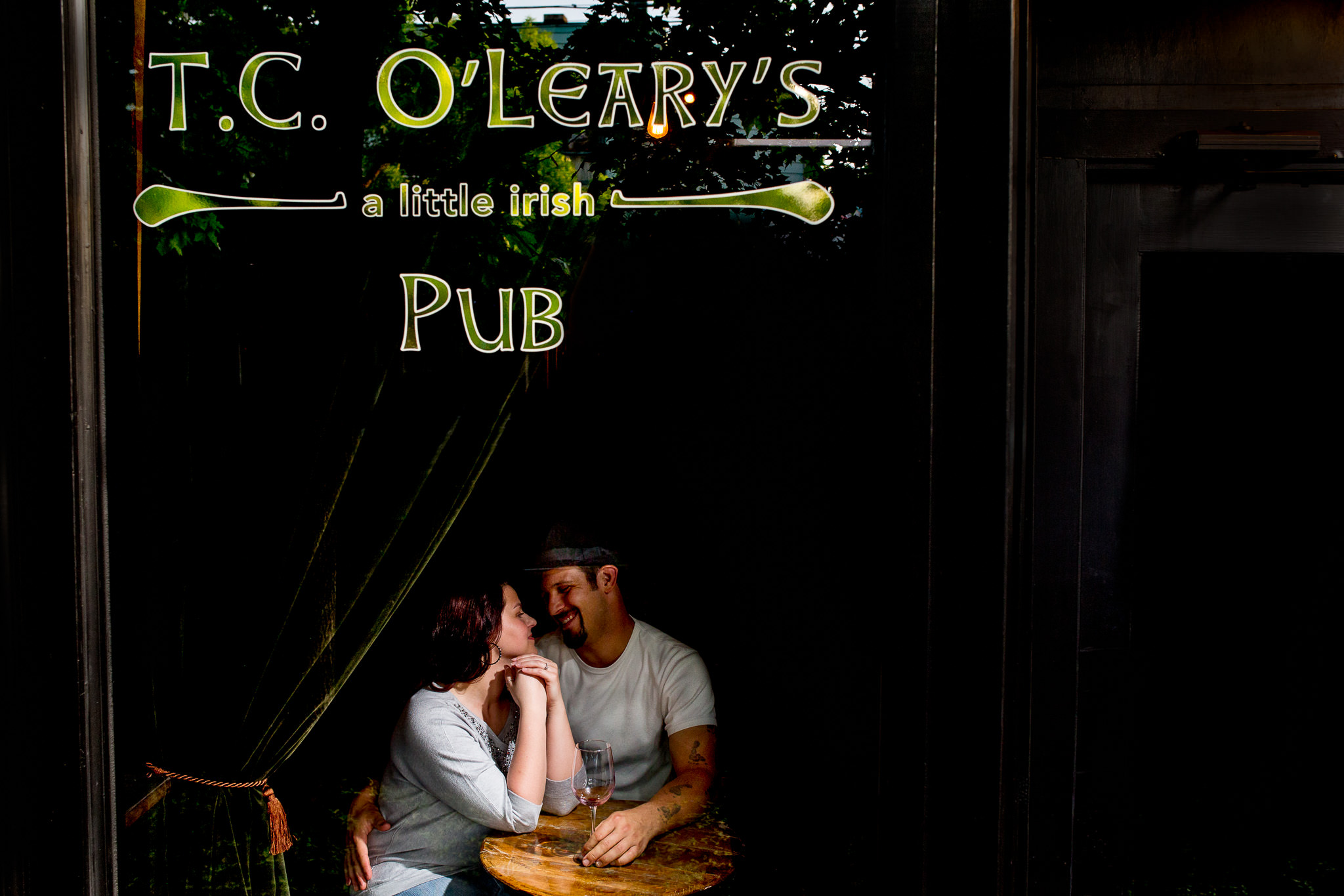 Portland Engagement Photo in Alberta Arts at Irish Bar