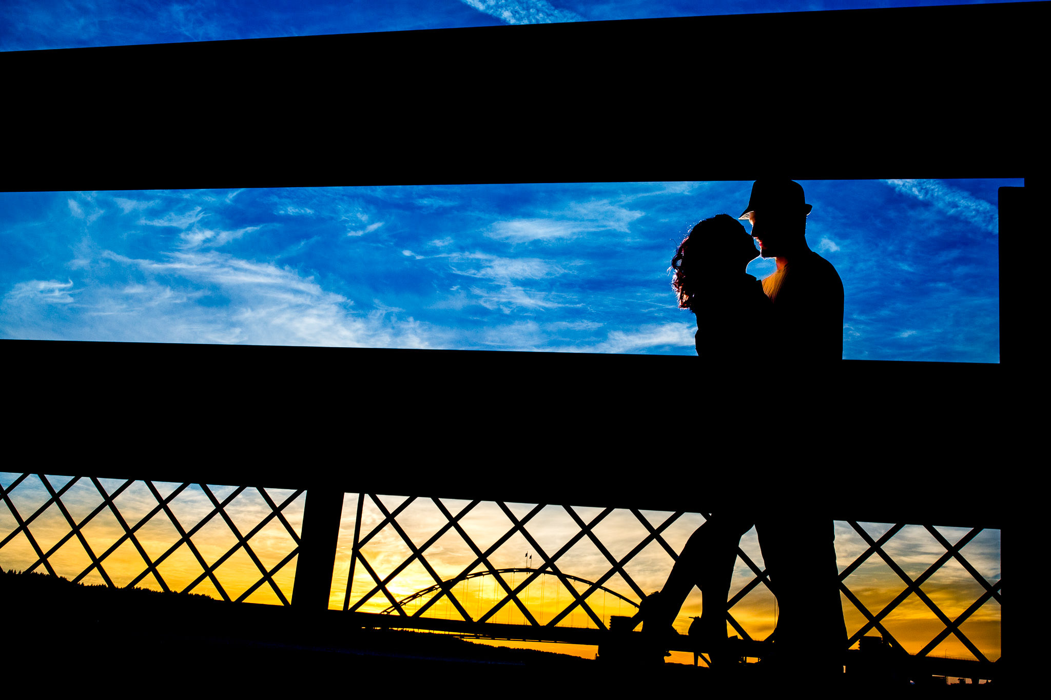 Portland Engagement Photo on Broadway Bridge at Sunset