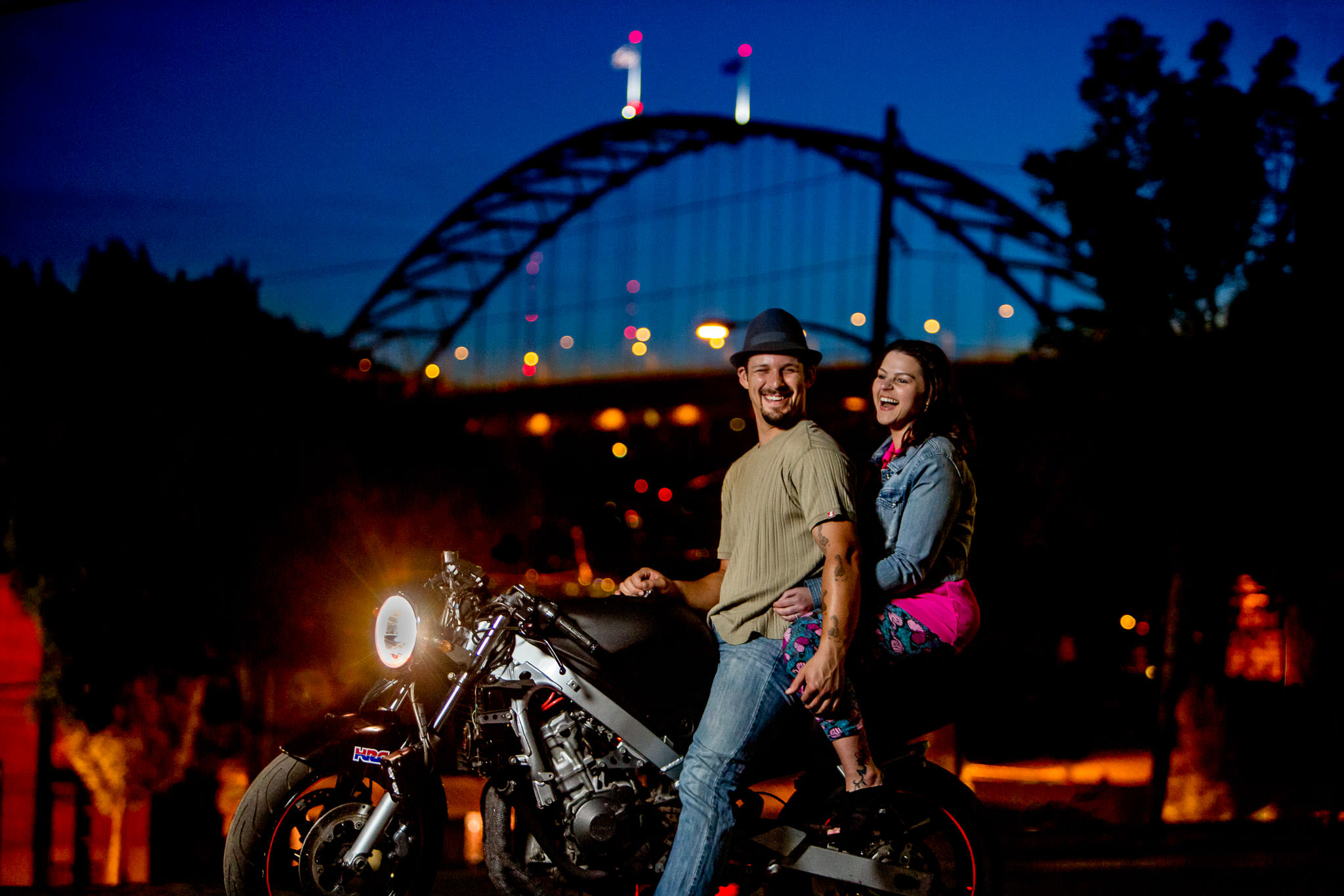 Portland Engagement Photo near Fremont Bridge on motorcycle