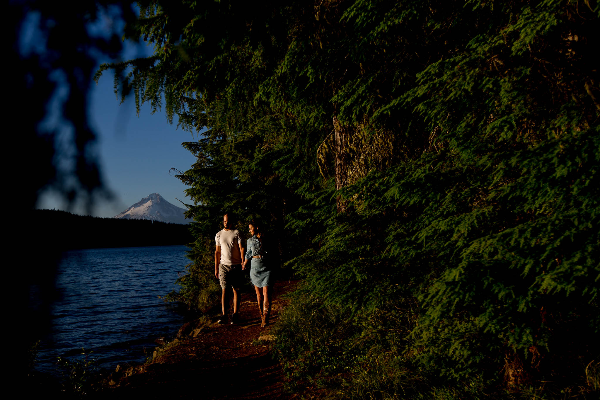 Engagement Photos walking at Timothy Lake at sunset
