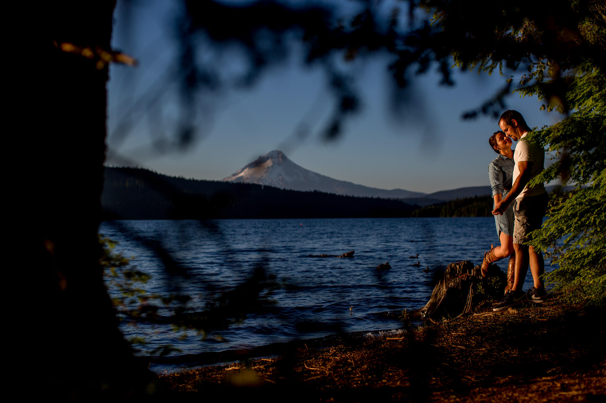 Engagement Photos walking at Timothy Lake with Mt Hood in backdrop