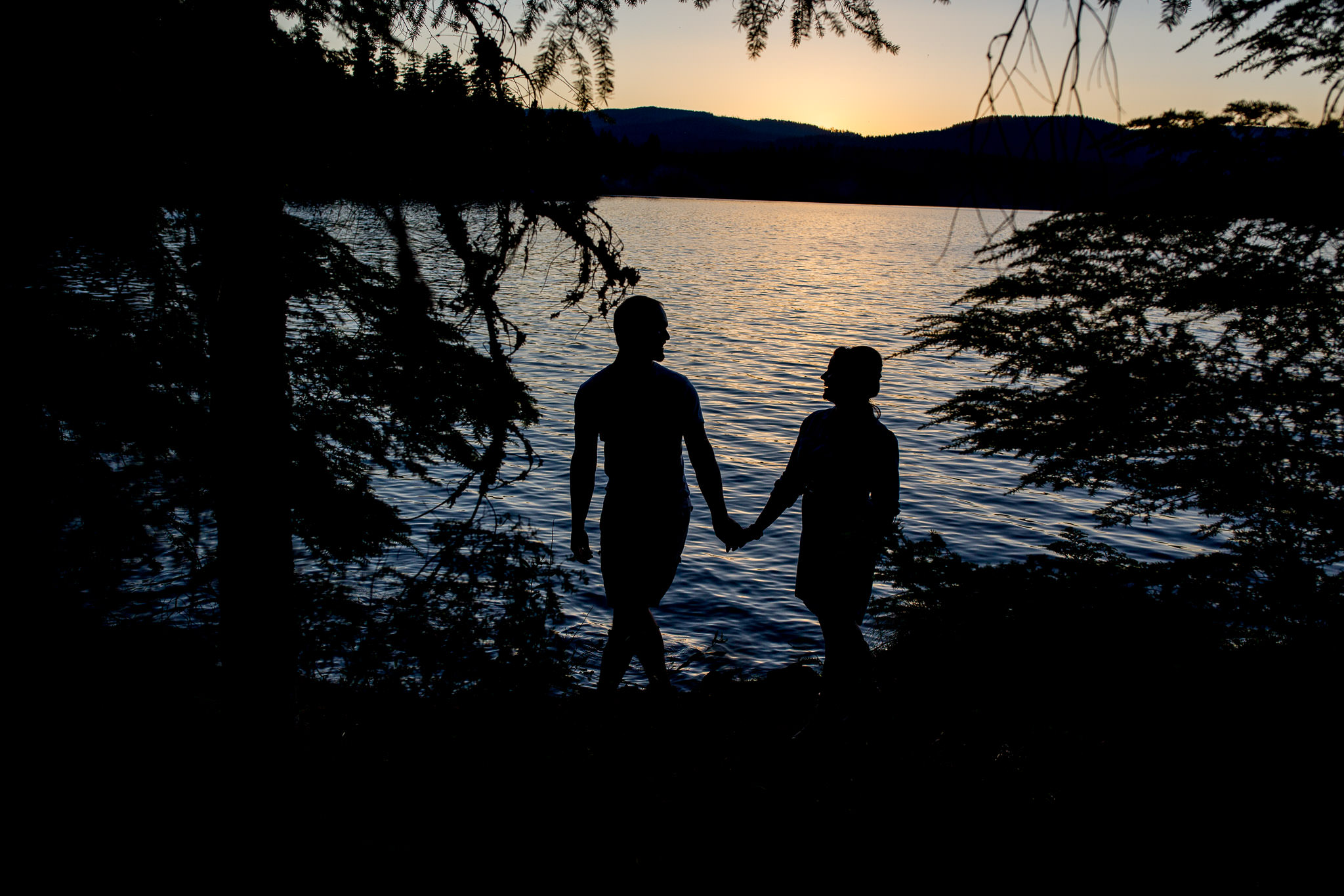 Engagement Photos walking at Timothy Lake at sunset walking with silhouette