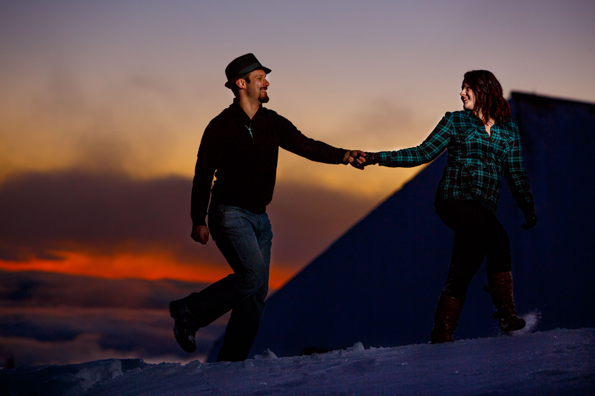 Engagement portrait atop Mt Hood at Timberline Lodge