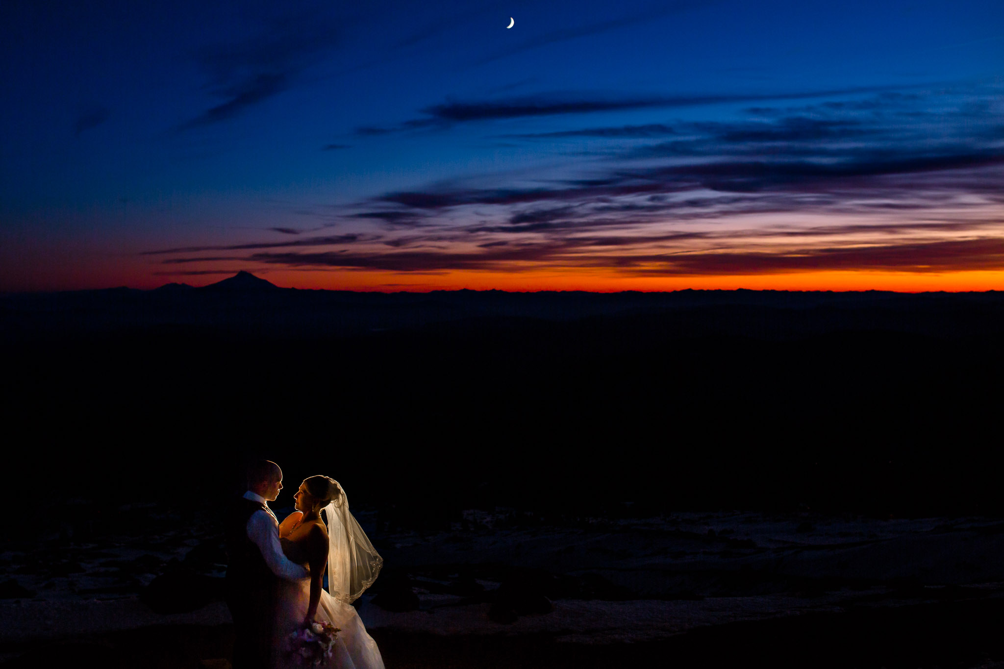 Silcox Hut Wedding Timberline Lodge JOS studios sunset photo of bride and groom