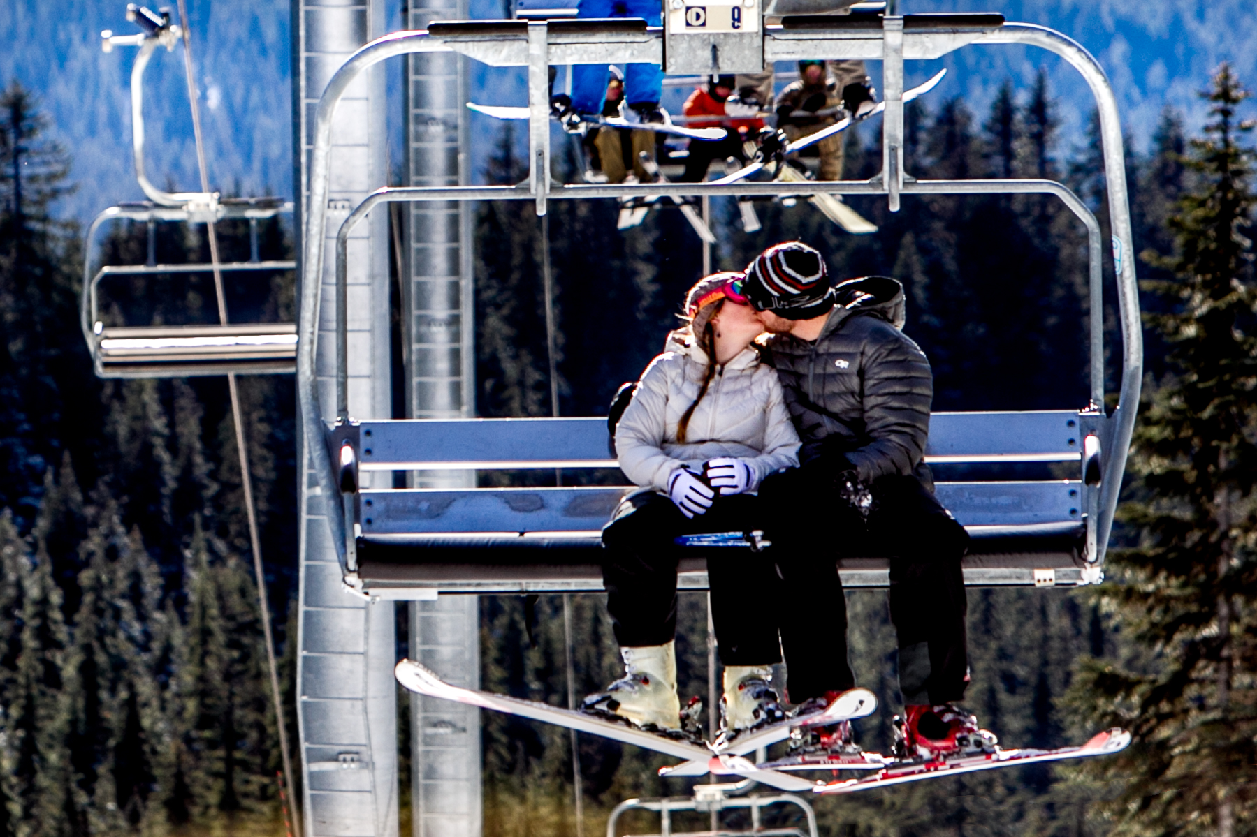 Bride and Groom on chair lift at Timberline Lodge