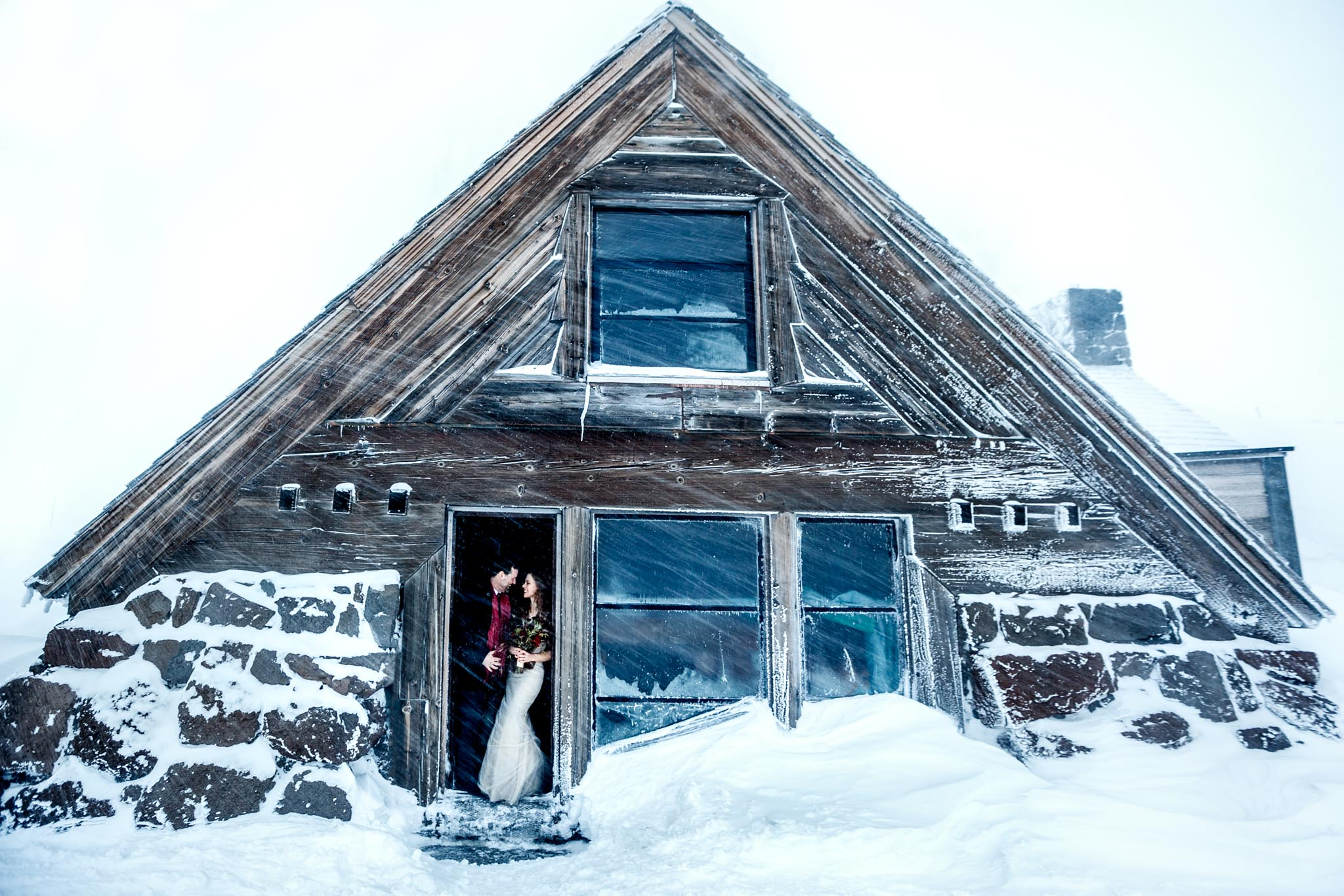 Silcox Hut Wedding atop Mt Hood above Timberline Lodge