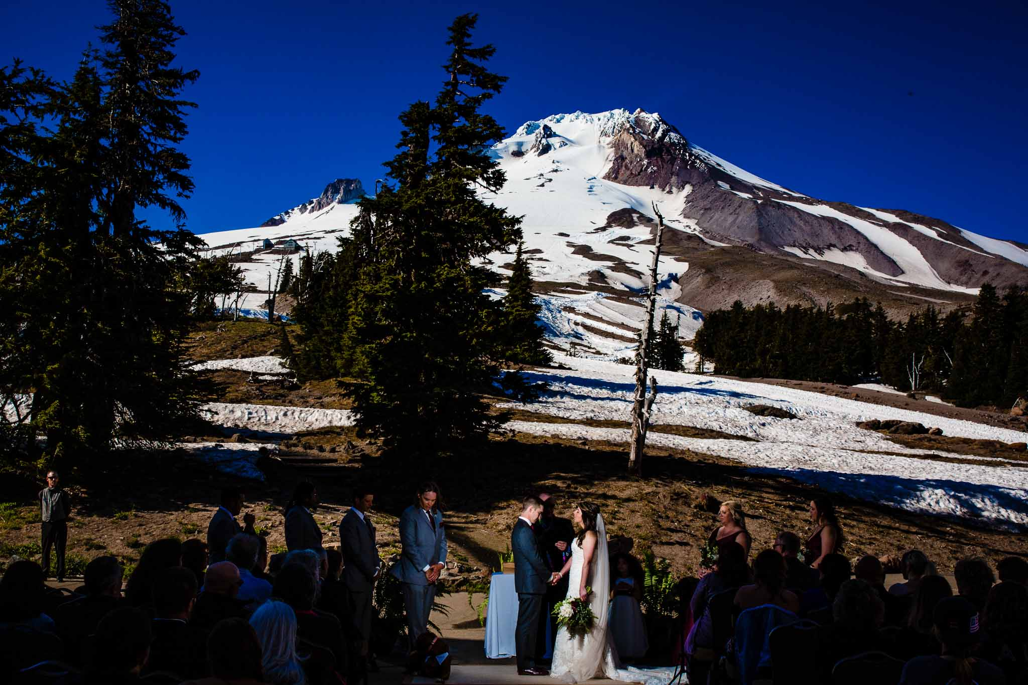 Bride and Groom lit with Magmod at Timberline Lodge
