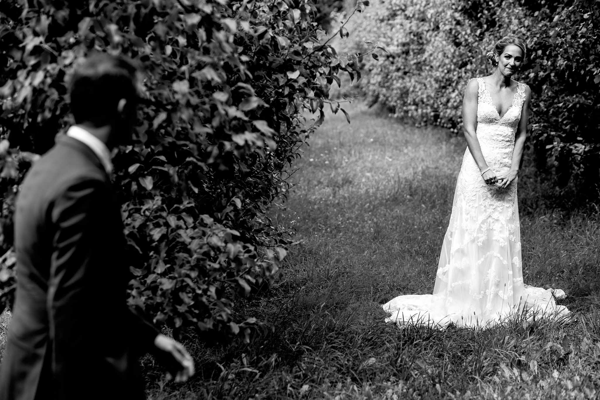Bride seeing groom first time at Mt Hood Organic Farms