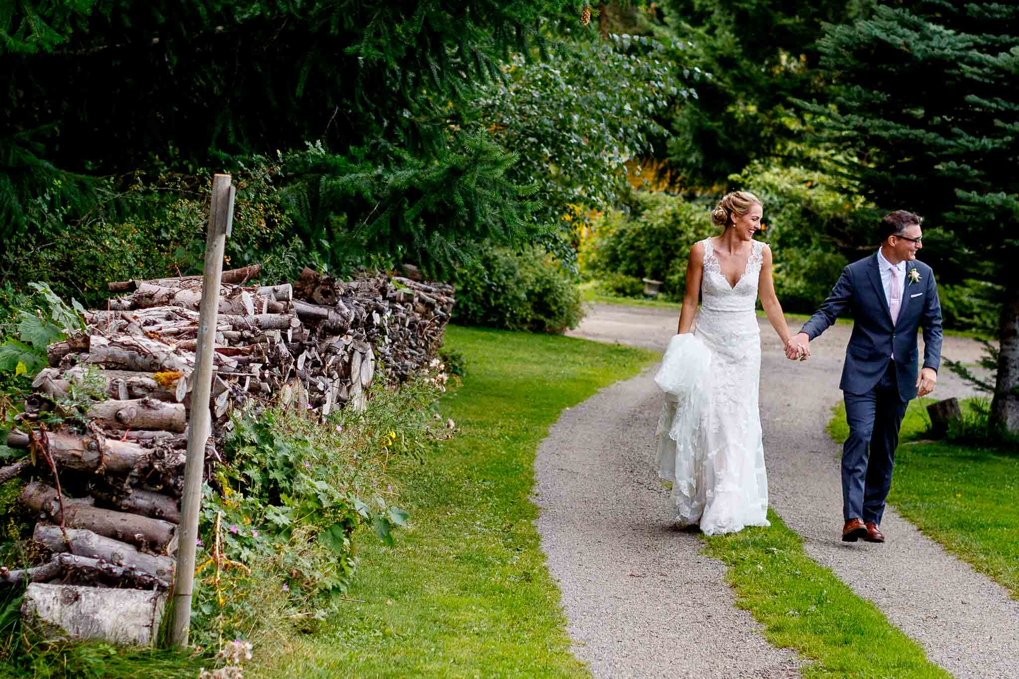 Bride and Groom walking together at Mt Hood Organic Farms