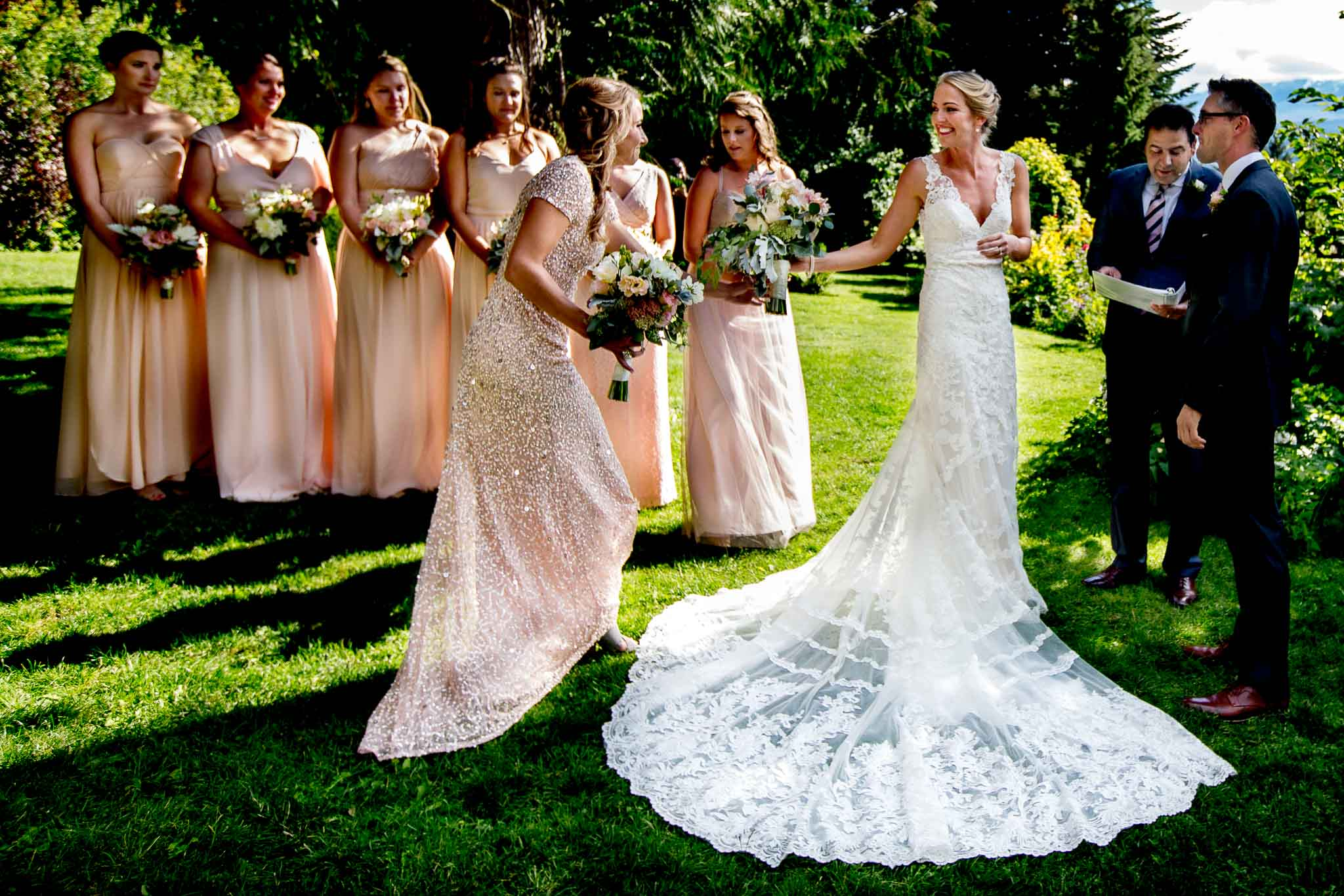 Bride and bridesmaids in wedding ceremony at Mt Hood Organic Farms