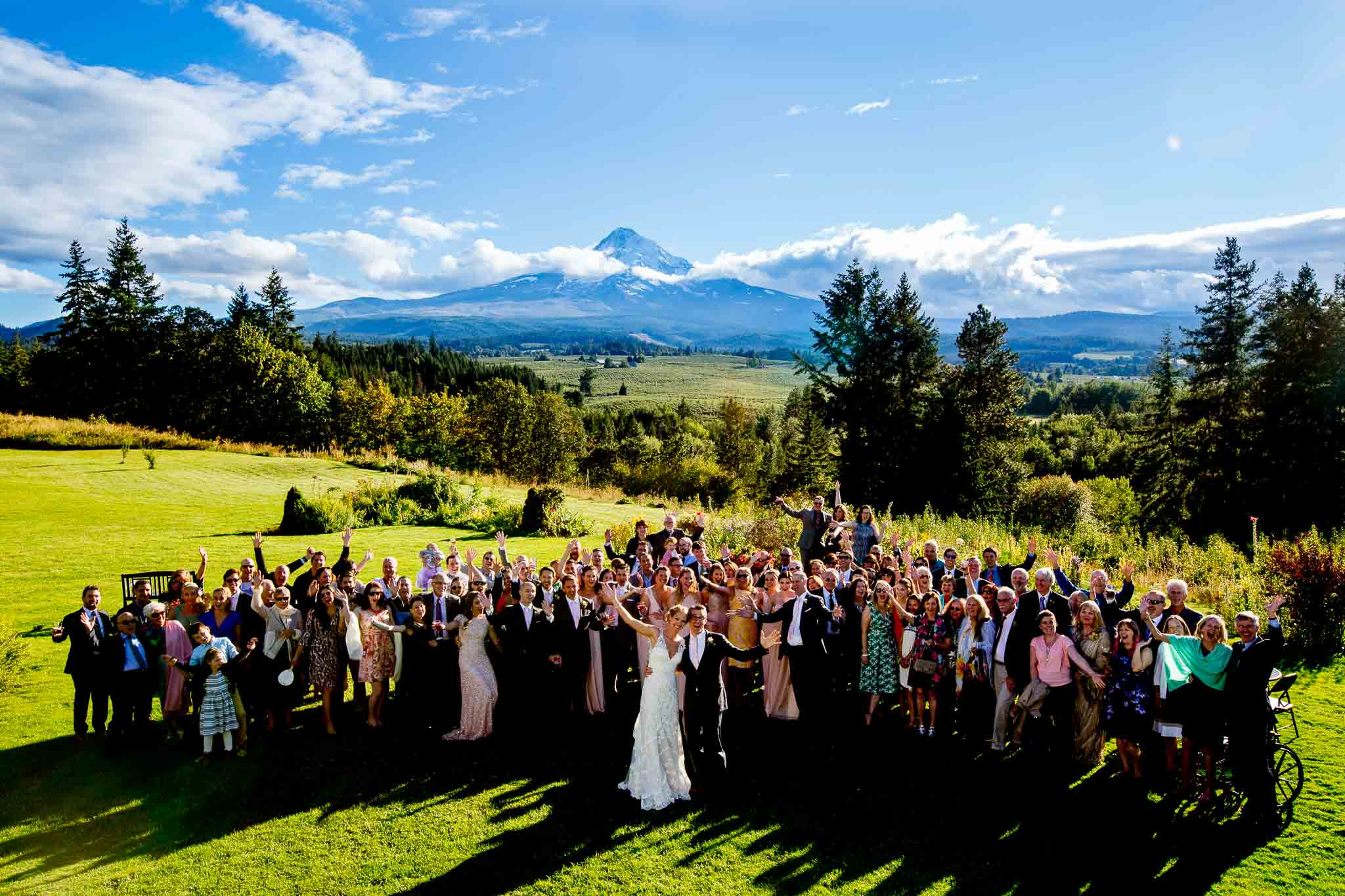 Large group photo at Mt Hood Organic Farms with Mountain in backdrop