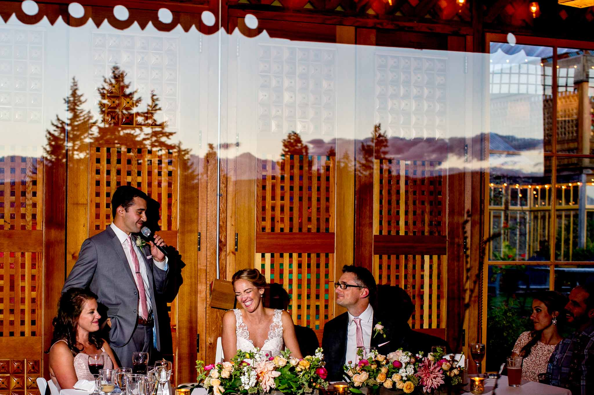 Best man speech at Mt Hood Organic Farms with reflection of sunset