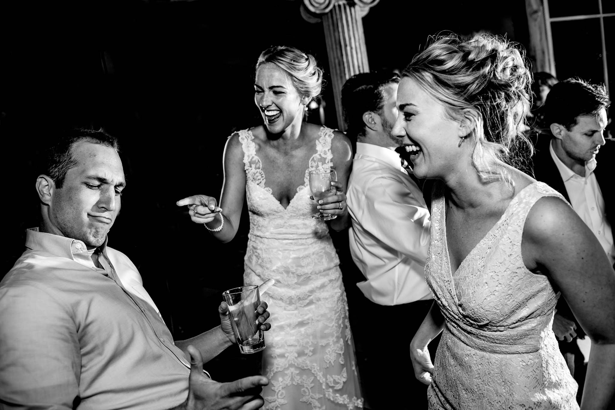 Bride laughing and dancing with friends at Mt Hood Organic Farms