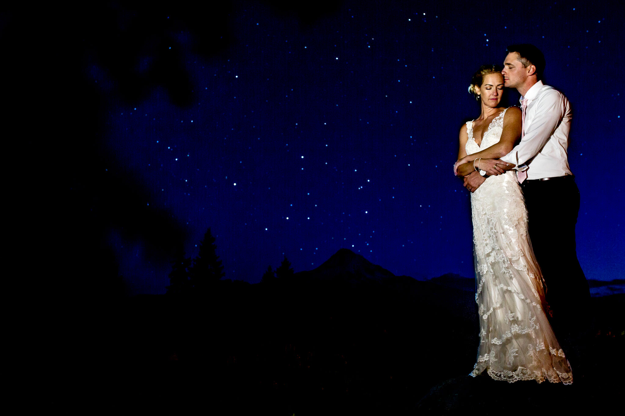 Bride and Groom night shot with stars and Mt Hood at Mt Hood Organic Farms wedding