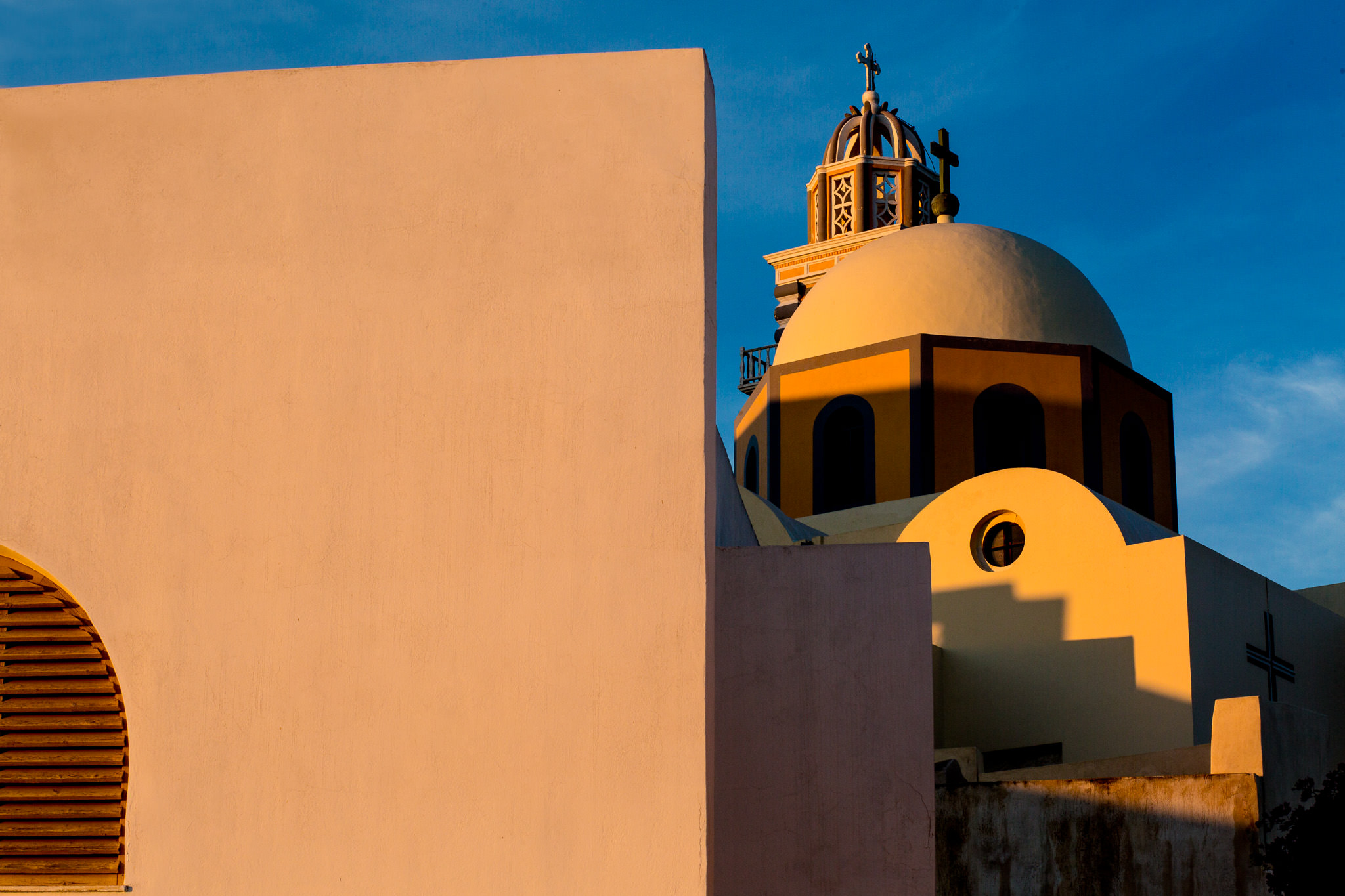Greek architecture at sunset on Santorini