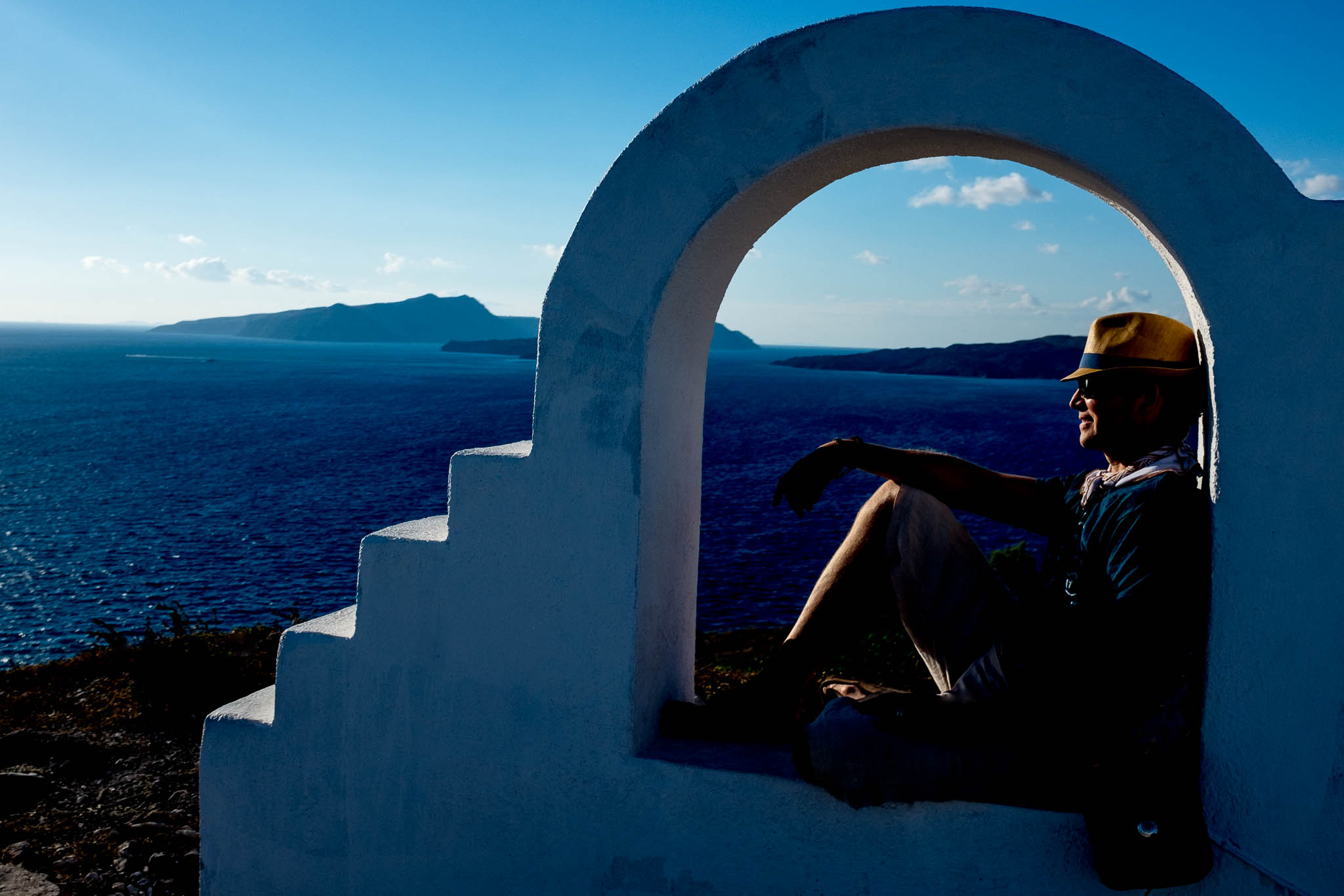 Santorini Greece lookout point over ocean