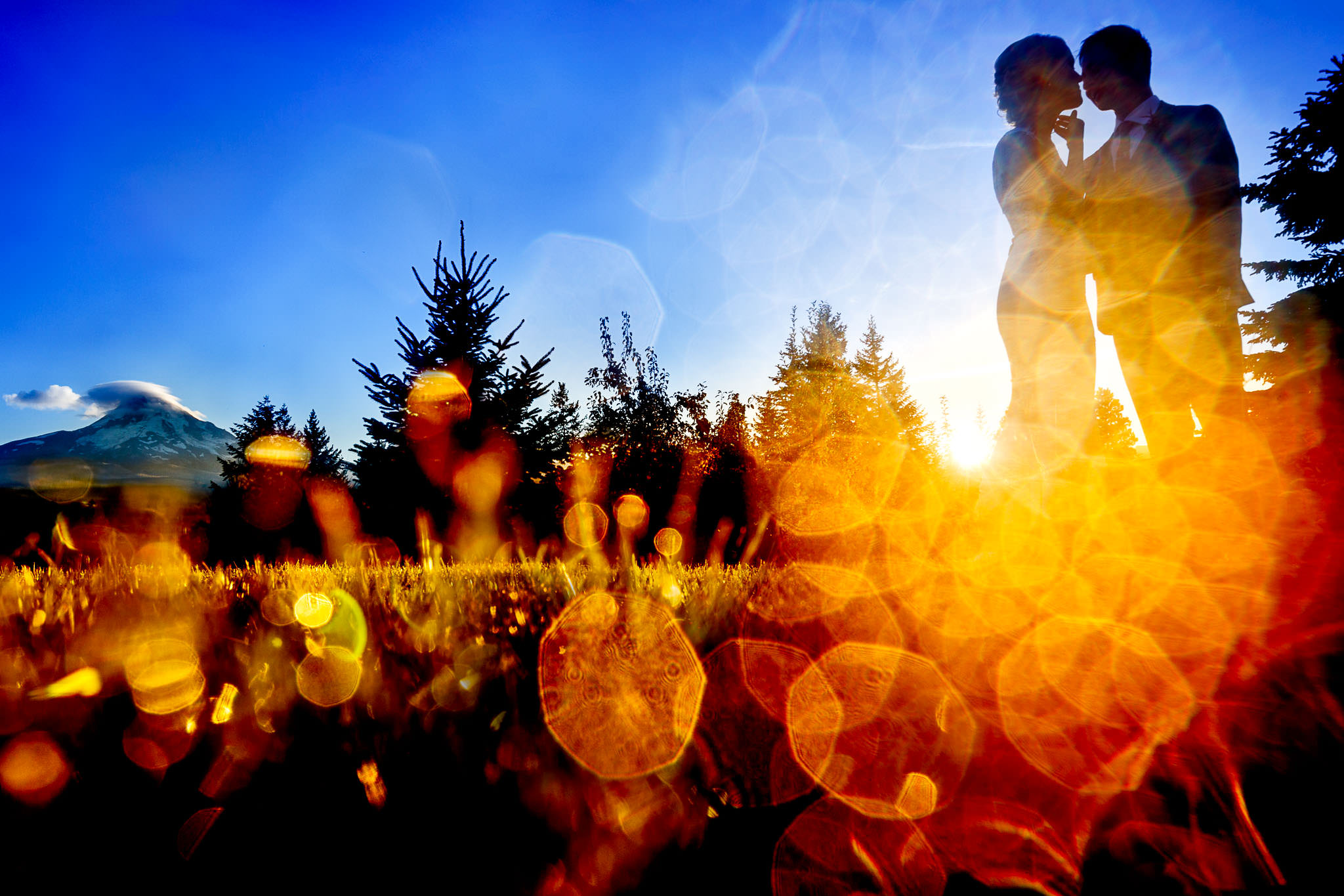 bride and groom in sun flare light at sunset at Mt Hood Organic Farms in Oregon