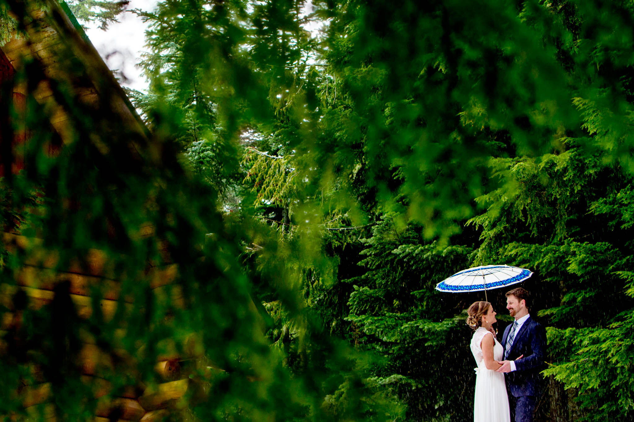 Bride seeing groom first time for their Timberline Wedding at Silcox Hut